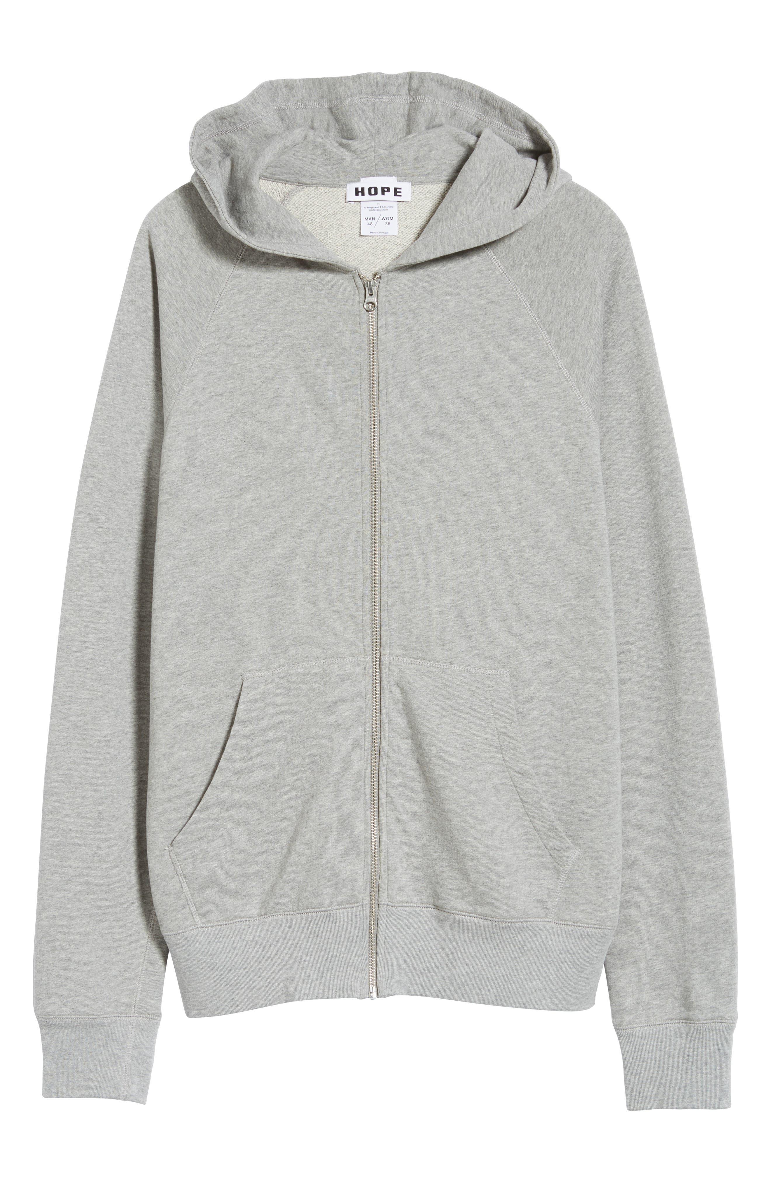 Pause Hooded Zip Sweatshirt,                             Alternate thumbnail 6, color,                             GREY MELANGE