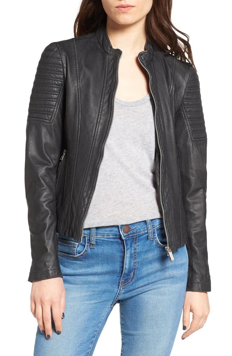 Goosecraft Quilted Sleeve Leather Jacket Nordstrom