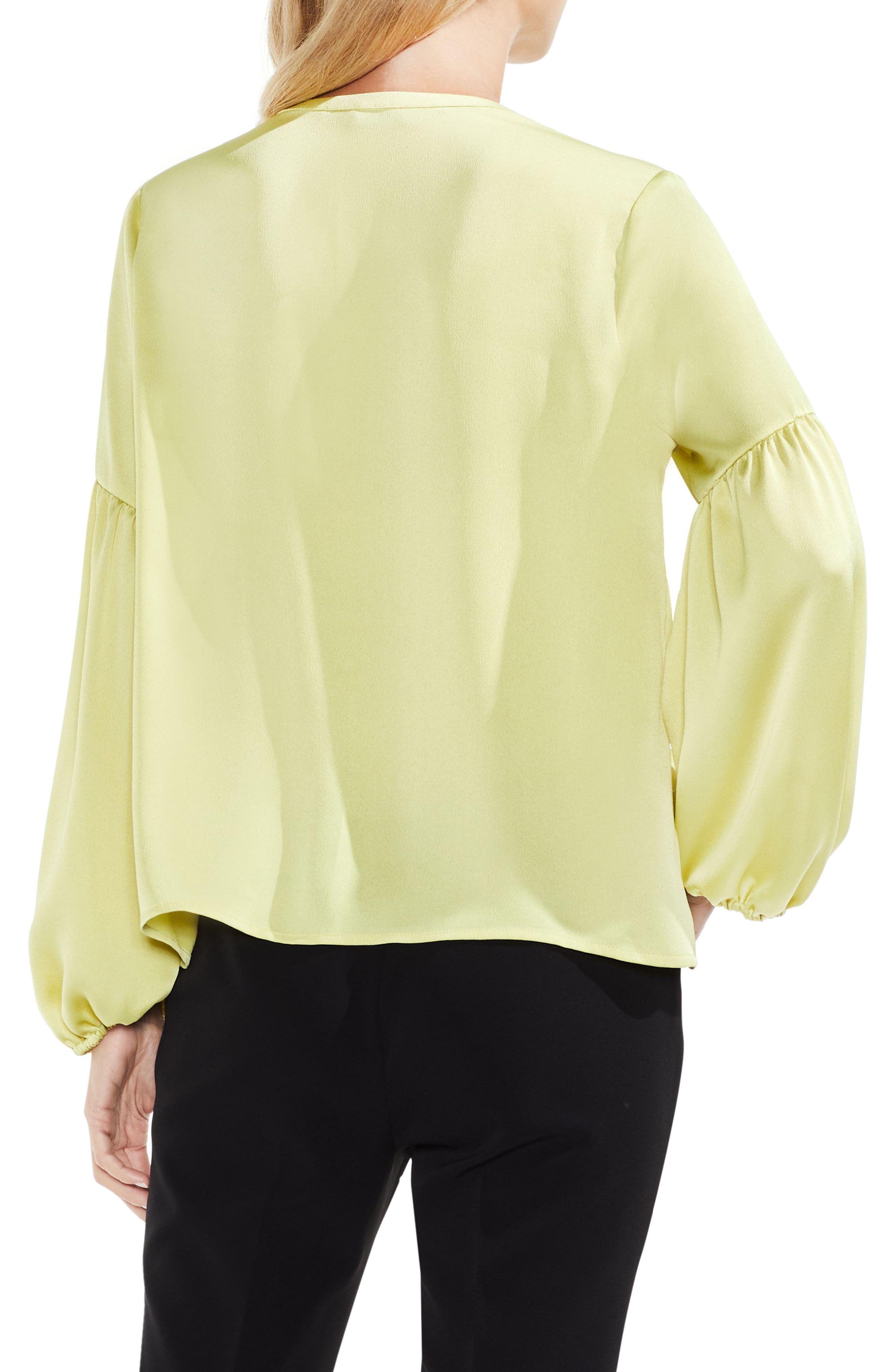 Lace-Up Hammered Satin Blouse,                             Alternate thumbnail 9, color,