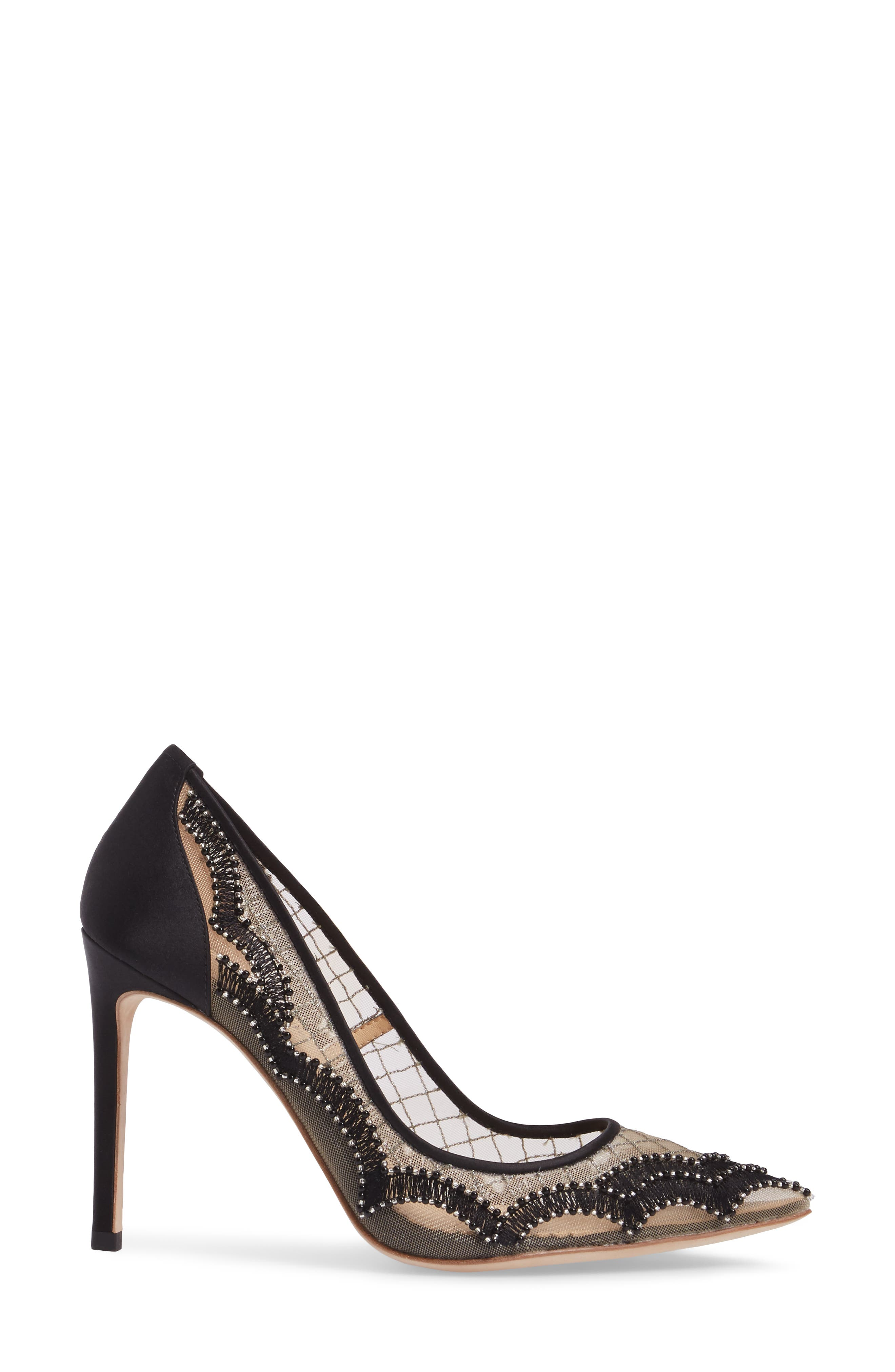 Nadia Scalloped Embroidery Pump,                             Alternate thumbnail 3, color,                             BLACK