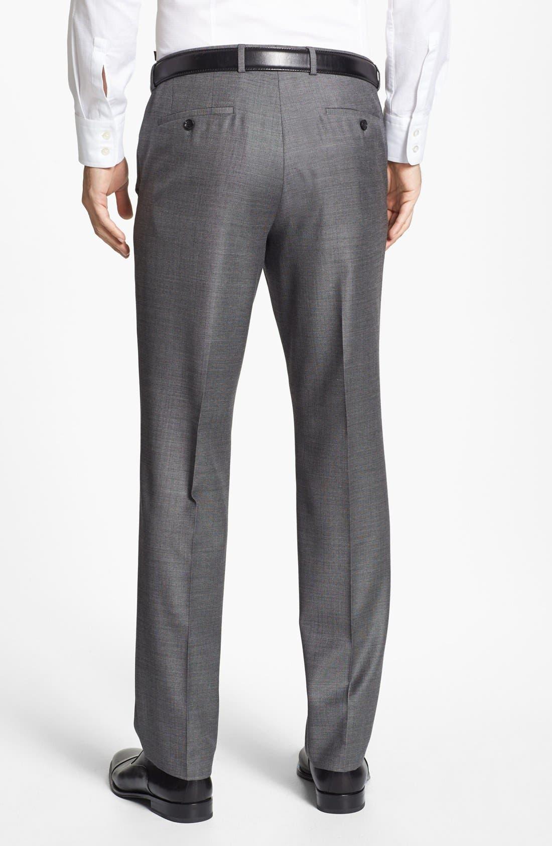 ZZDNUHUGO BOSS,                             BOSS HUGO BOSS 'Sharp' Flat Front Wool Trousers,                             Alternate thumbnail 6, color,                             001
