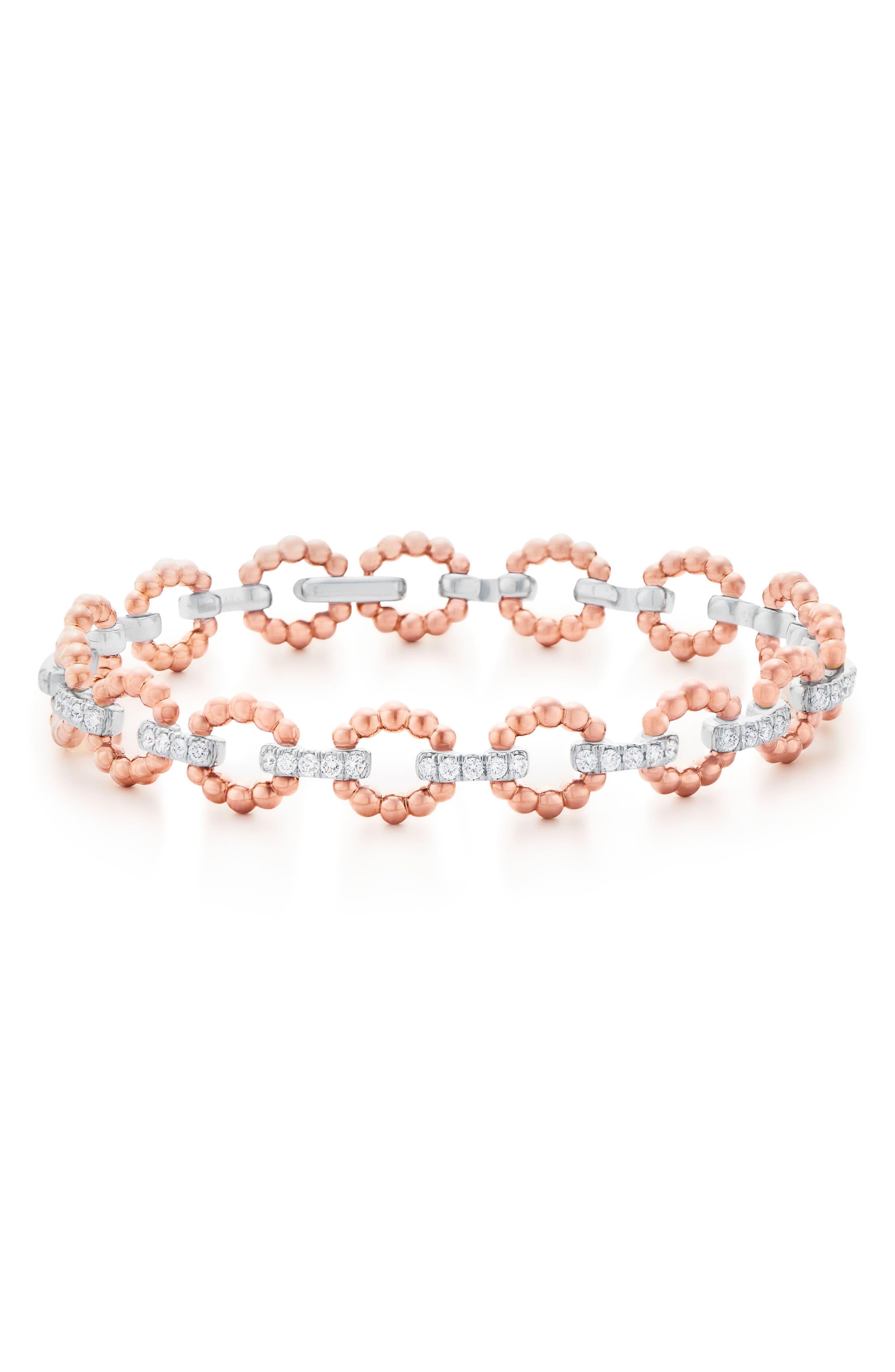 Beaded Link Diamond Bracelet,                             Main thumbnail 1, color,                             712