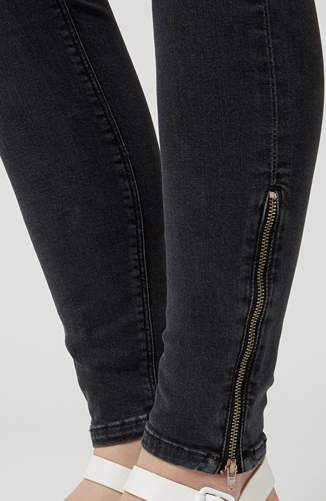 Moto 'Jamie' Zip Ankle Skinny Jeans,                             Alternate thumbnail 8, color,                             001