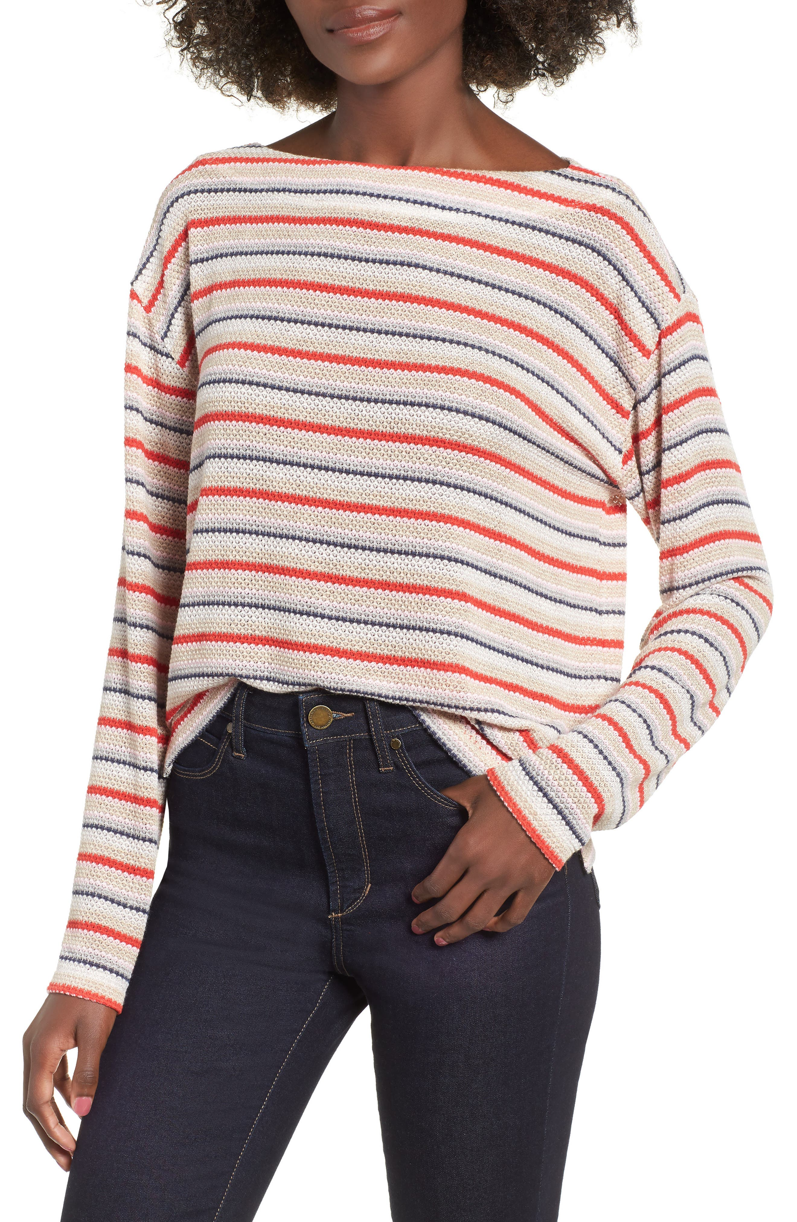 Stripe Knit Tee,                             Main thumbnail 1, color,                             RAINBOW