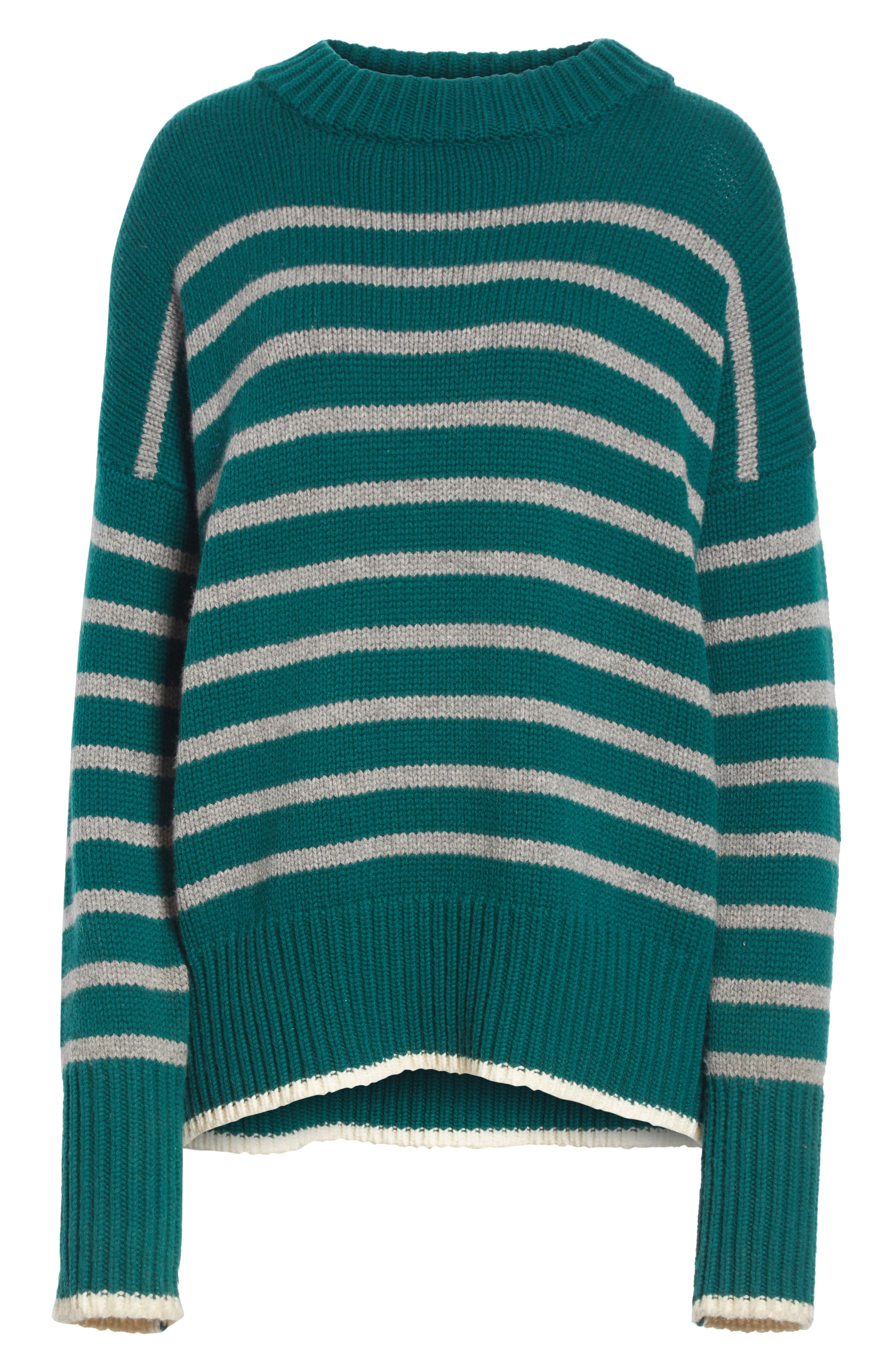 Marin Wool & Cashmere Sweater,                             Alternate thumbnail 6, color,                             FOREST GREEN/ GREY MARLE