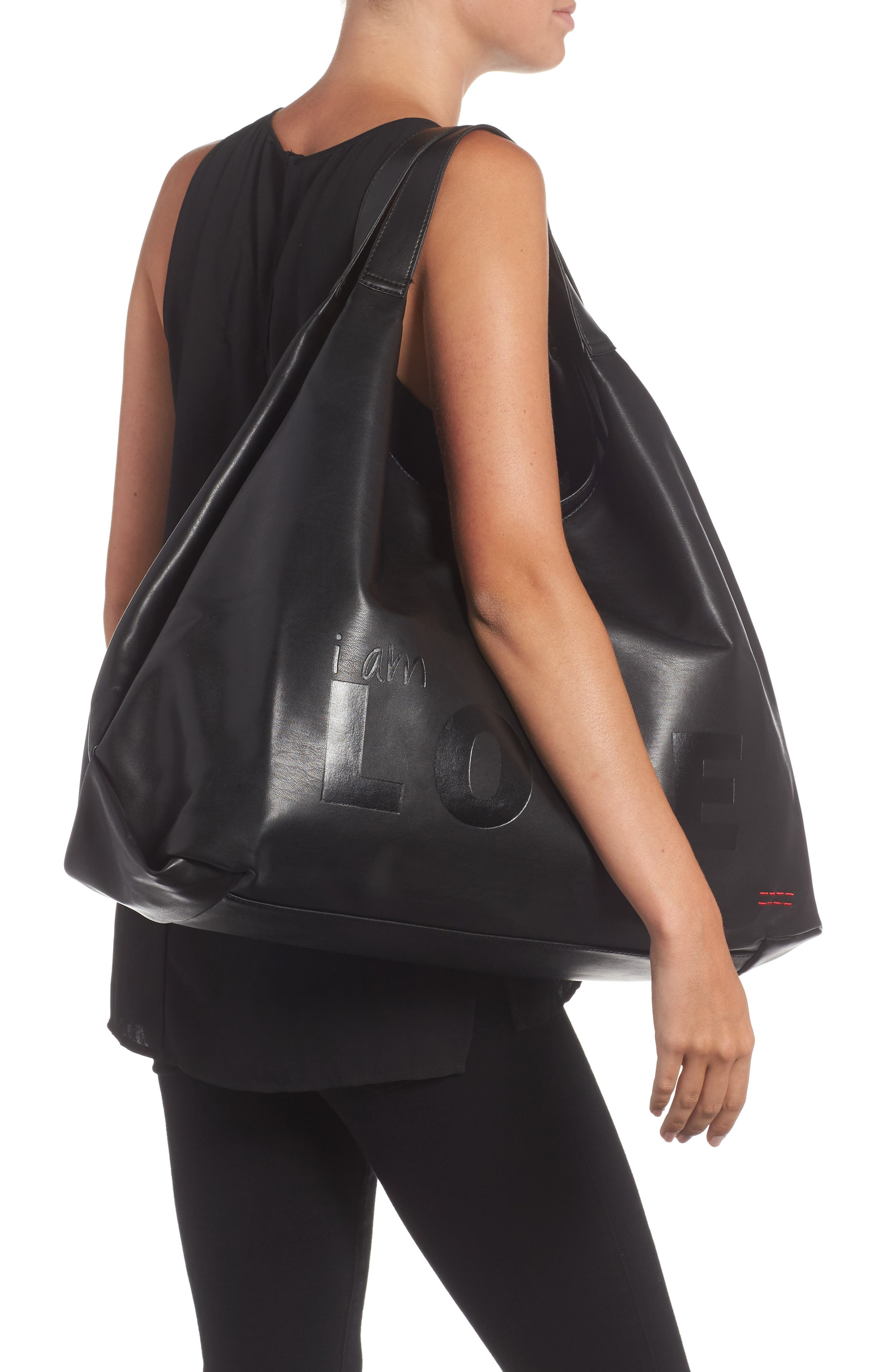 Slouchy Faux Leather Hobo,                             Alternate thumbnail 2, color,                             001