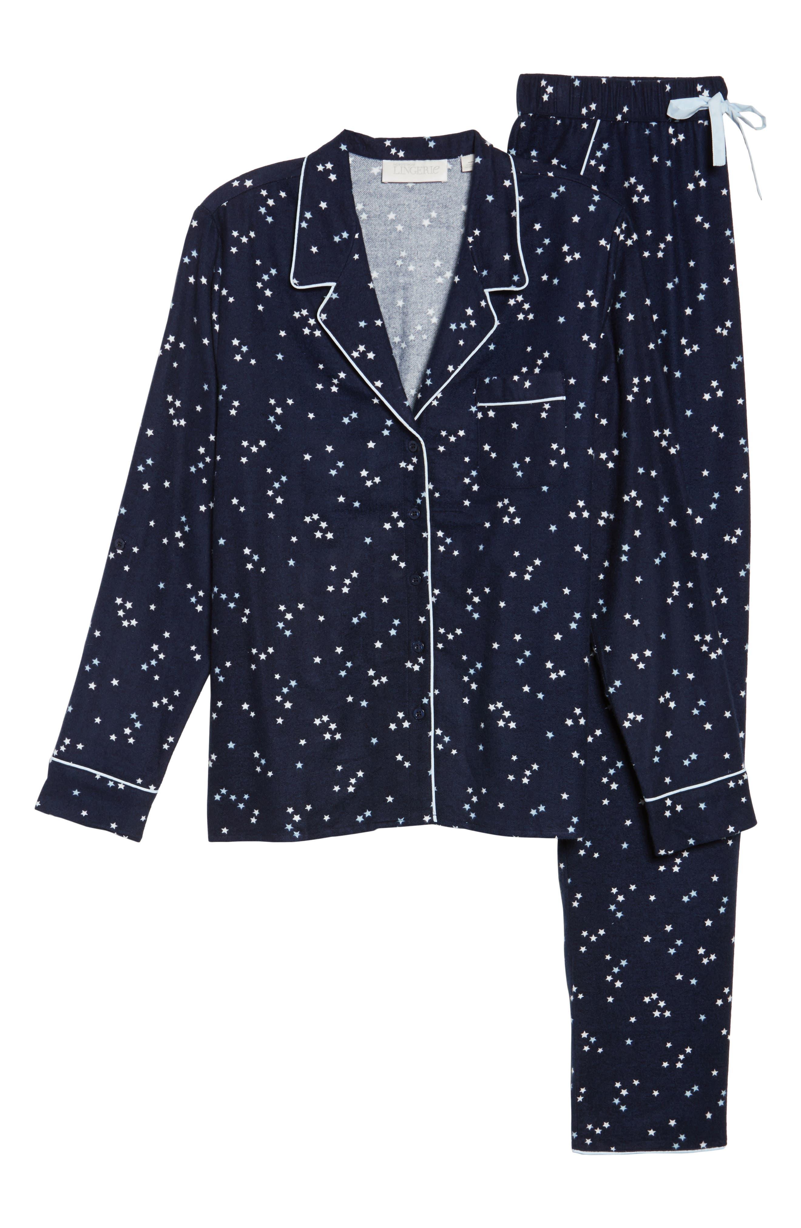 Lingerie Starlight Flannel Pajamas,                             Alternate thumbnail 28, color,