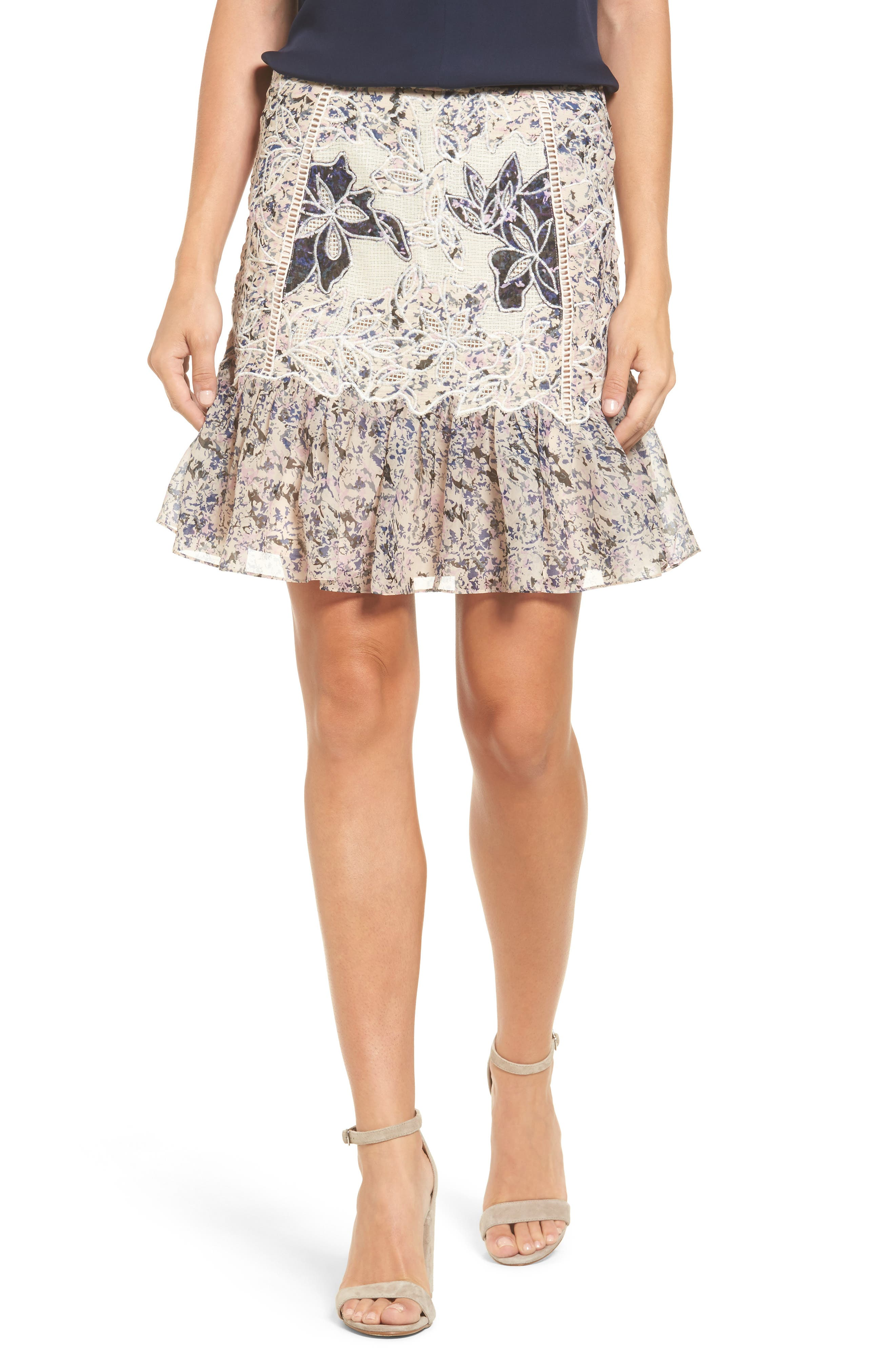 Tegan Floral Fit & Flare Skirt,                             Main thumbnail 1, color,                             541