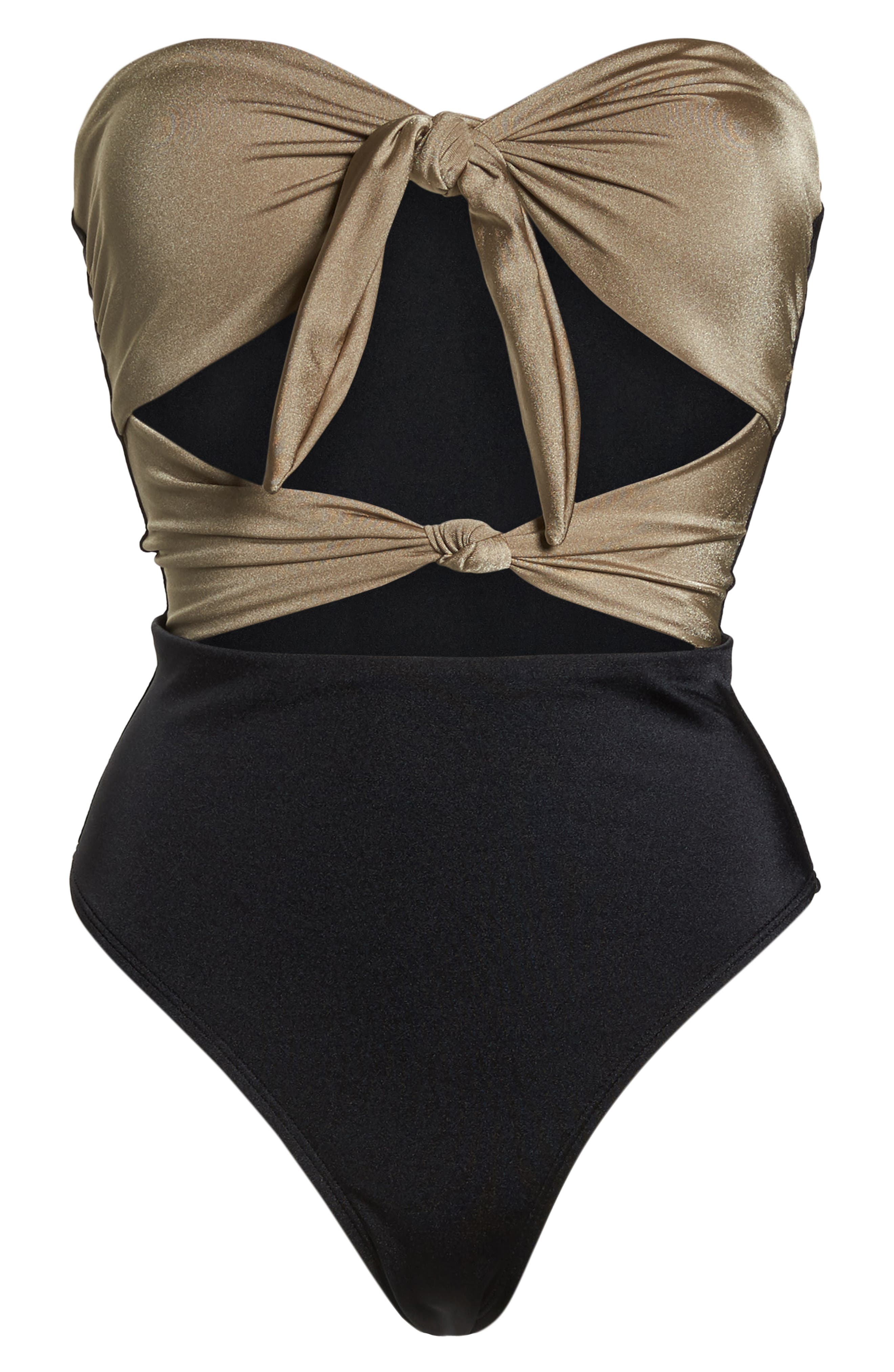 Glam Nights One-Piece Swimsuit,                             Alternate thumbnail 7, color,                             TAN MINK/ BLACK