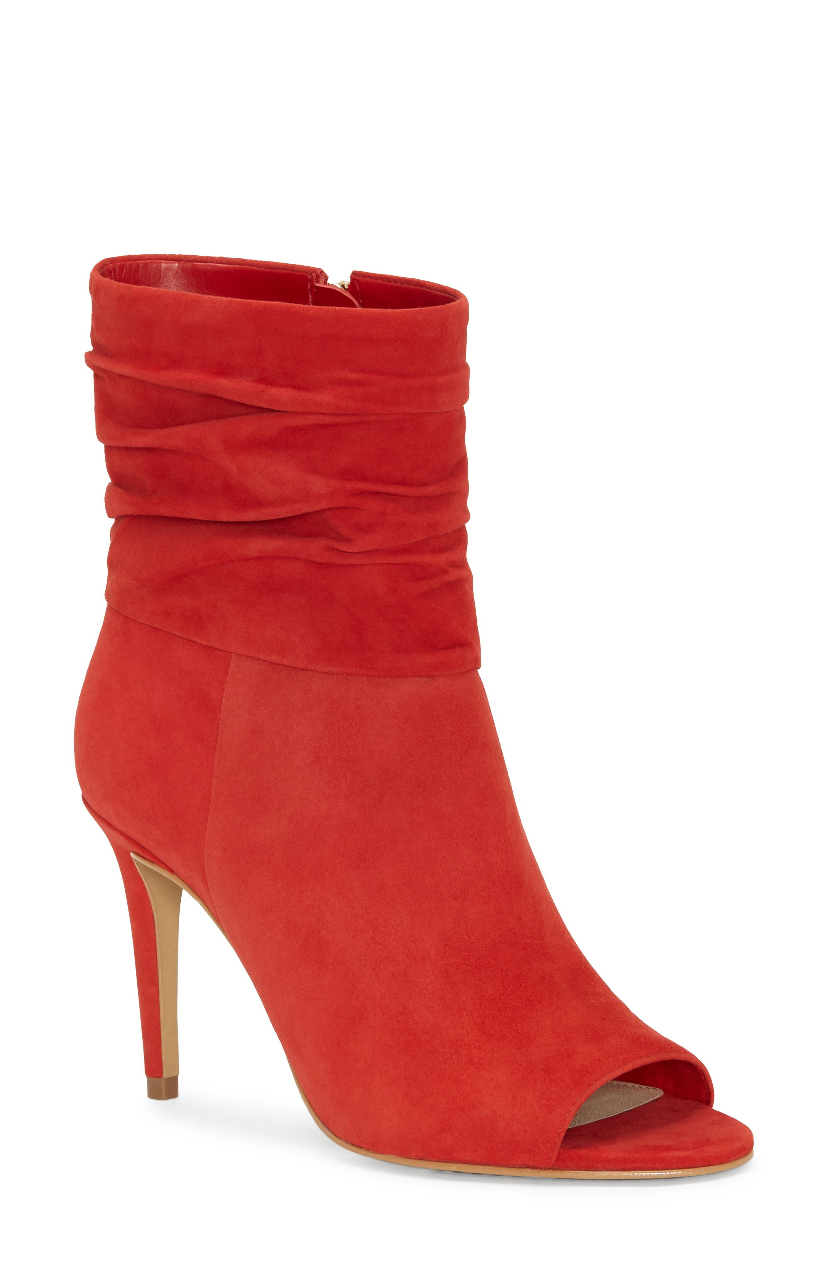 Vince Camuto Catillia Open Toe Bootie, Red