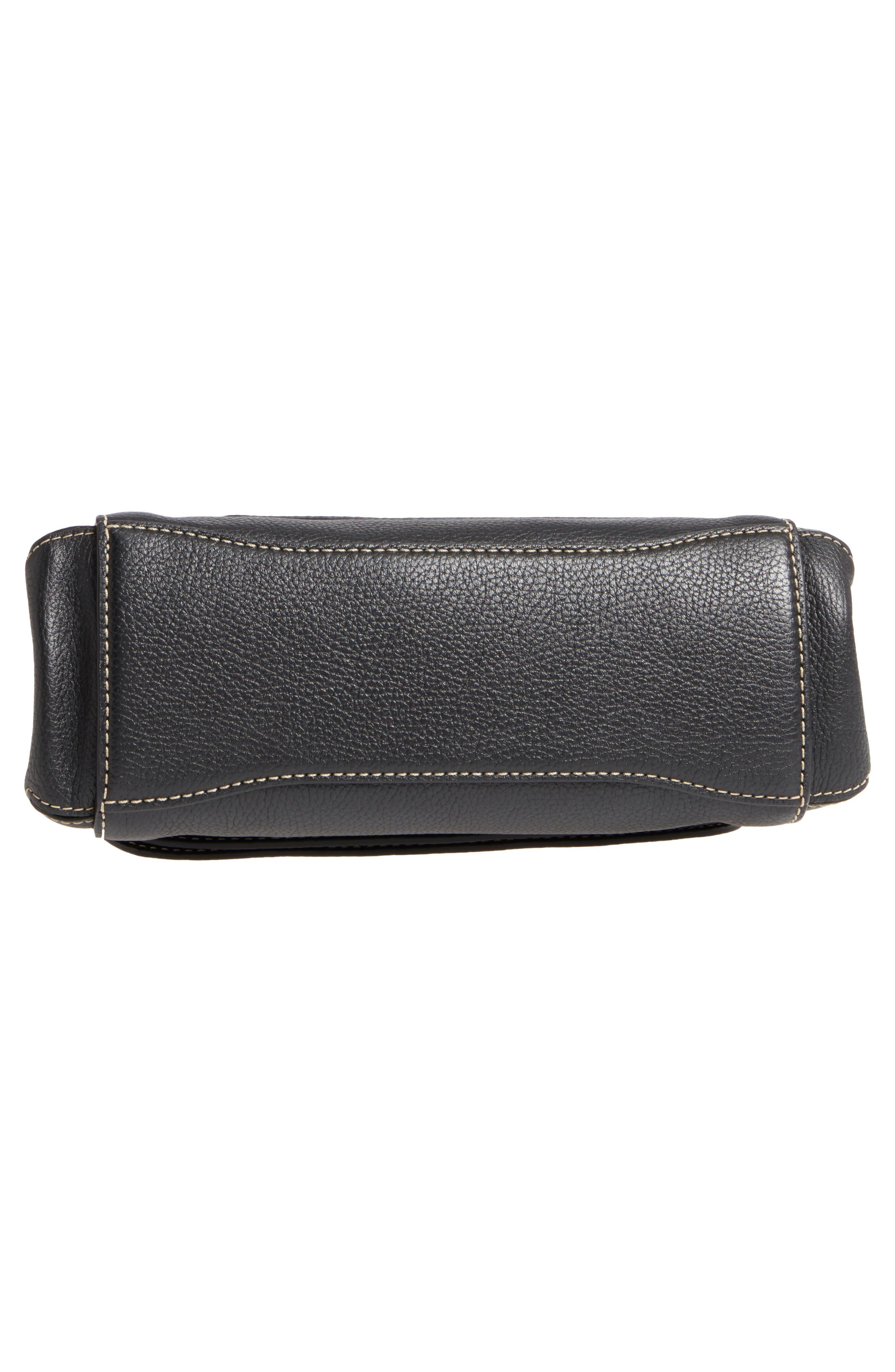 The Grind Boho Leather Shoulder Bag,                             Alternate thumbnail 6, color,                             BLACK/ GOLD