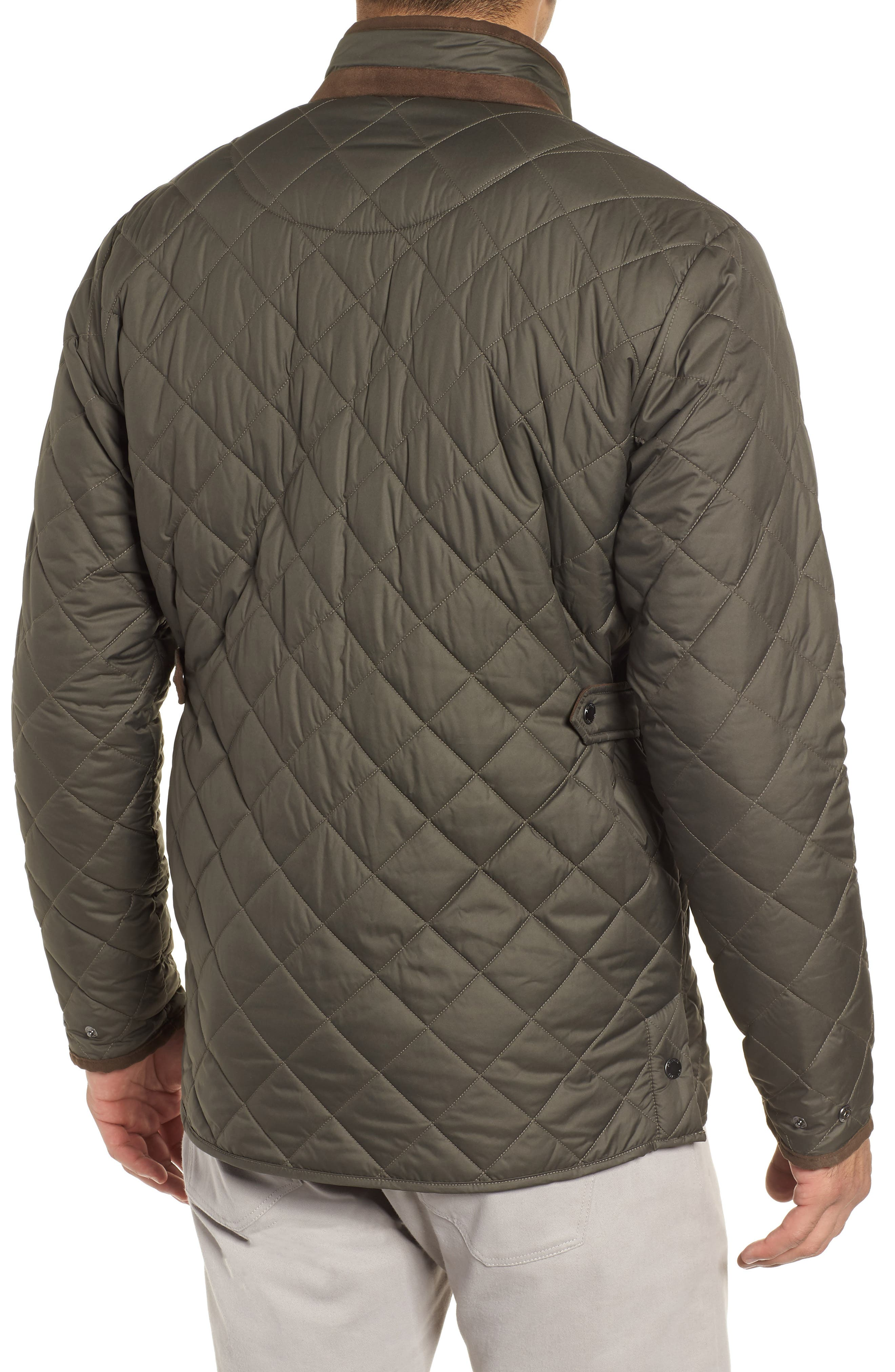 Suffolk Quilted Water-Resistant Car Coat,                             Alternate thumbnail 2, color,                             OLIVE