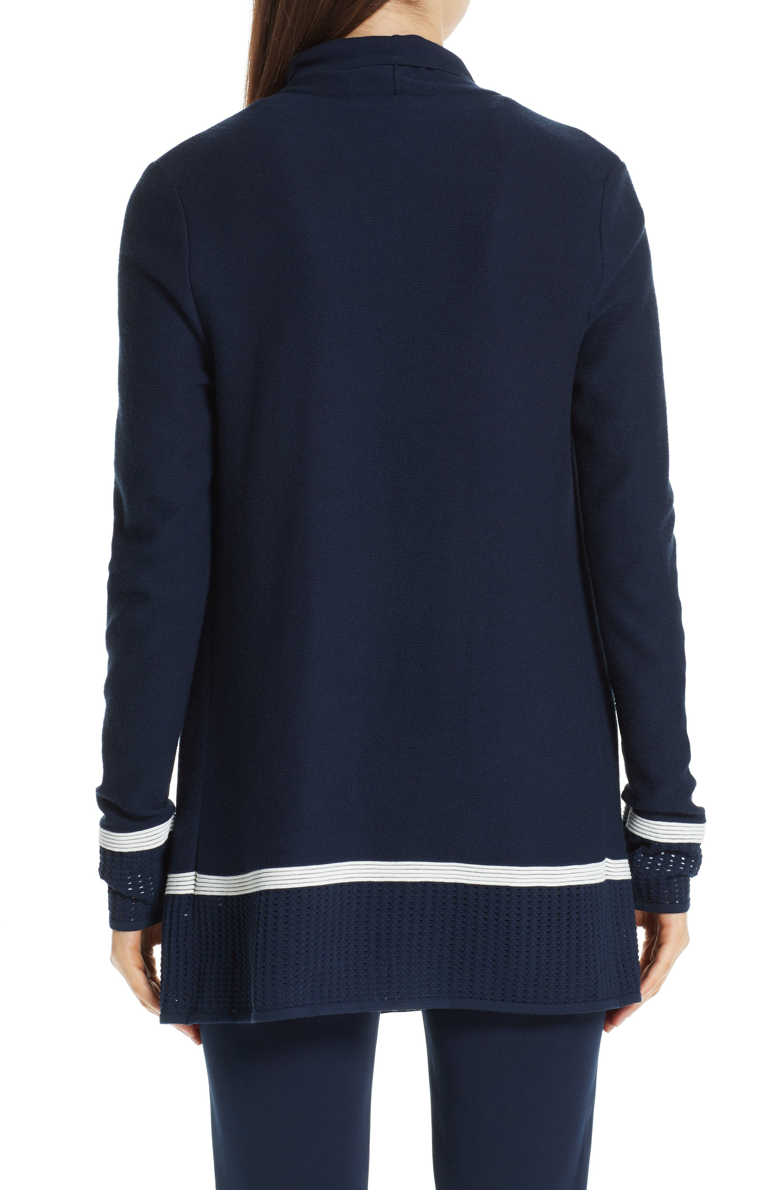 ST. JOHN COLLECTION,                             Mesh Trim Cardigan,                             Alternate thumbnail 2, color,                             NAVY/ CREAM