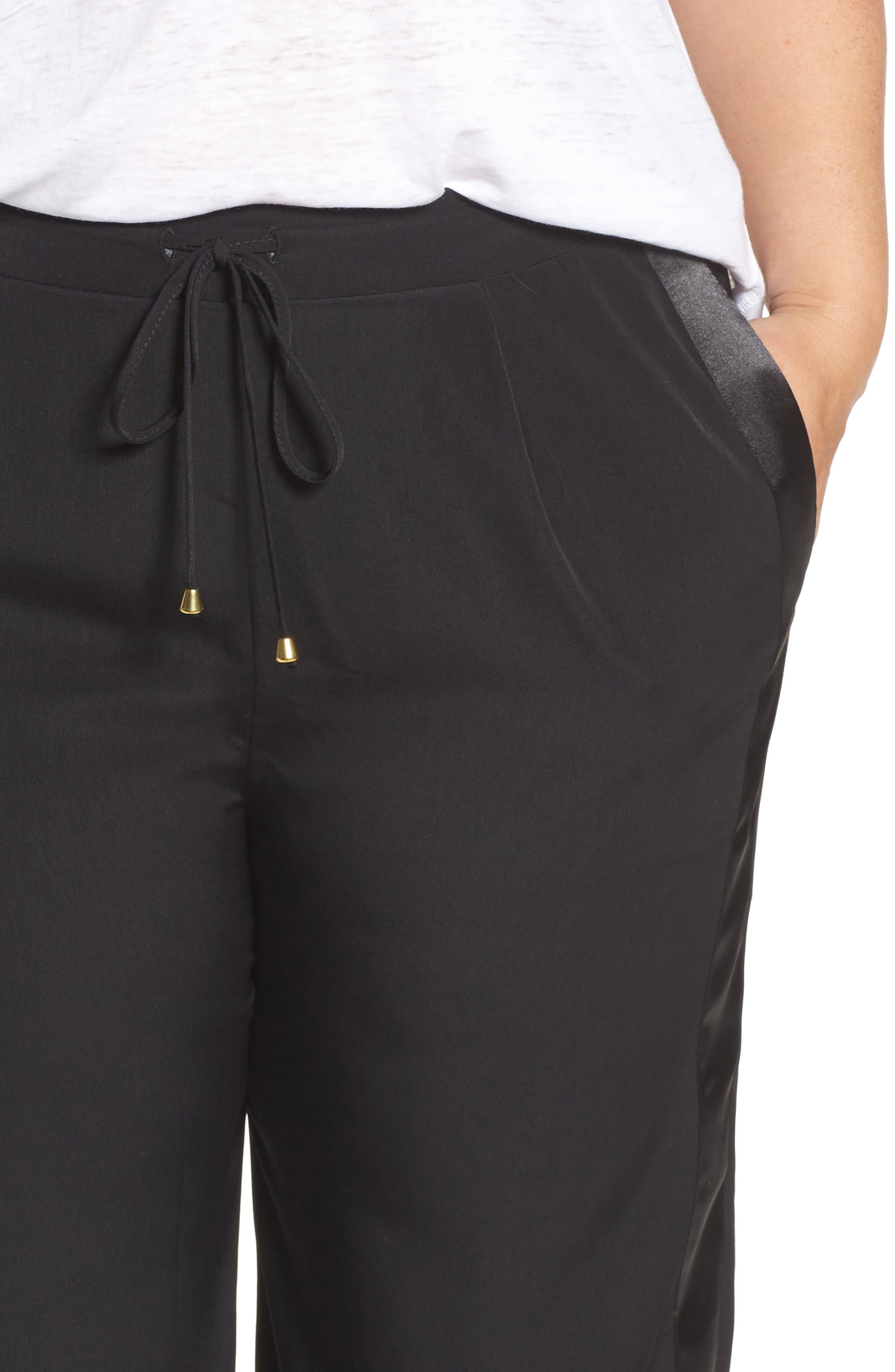 Satin Stripe Wide Leg Pants,                             Alternate thumbnail 4, color,                             002