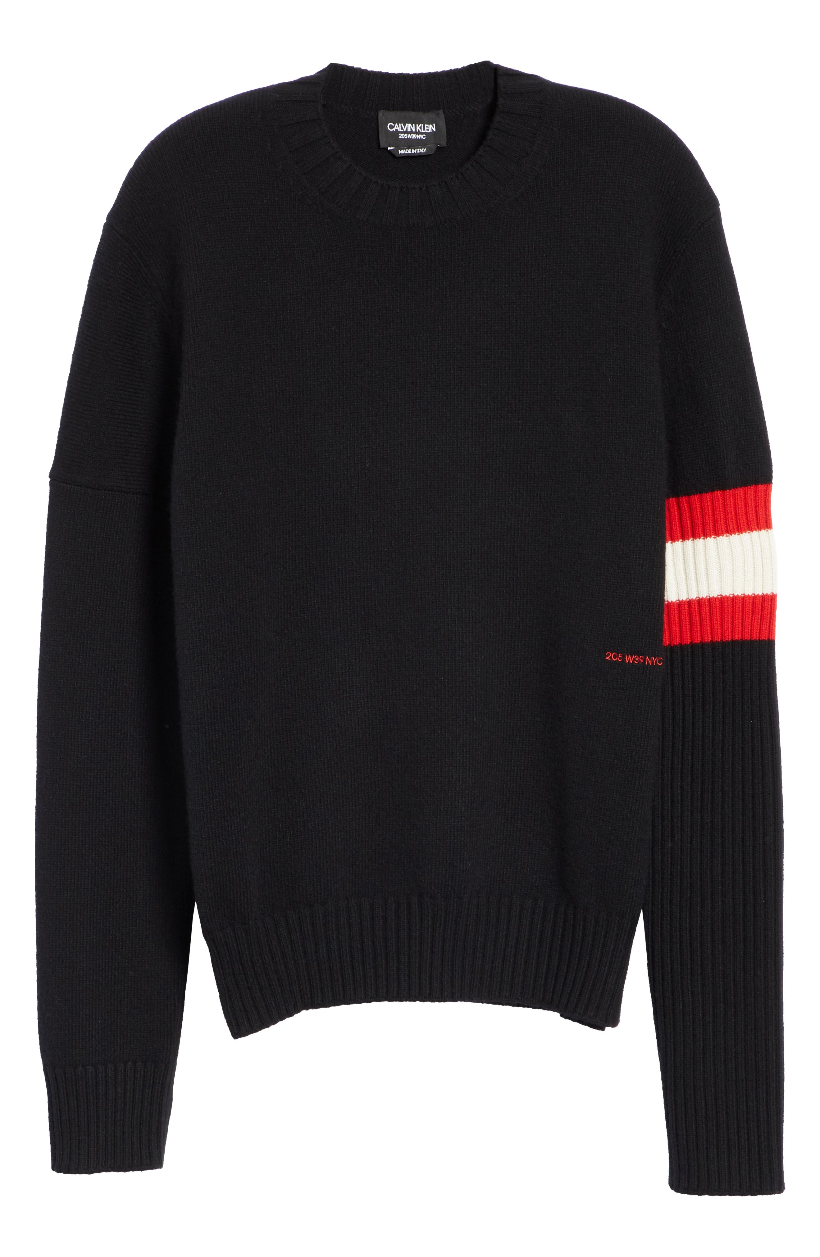 CALVIN KLEIN 205W39NYC,                             Cashmere Stripe Sleeve Sweater,                             Alternate thumbnail 6, color,                             001