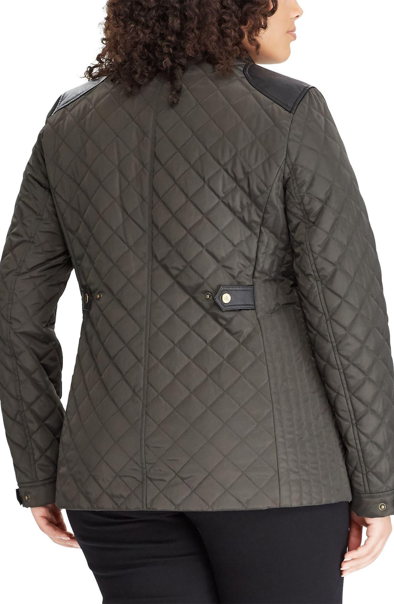 LAUREN RALPH LAUREN,                             Quilted Jacket with Faux Leather Trim,                             Alternate thumbnail 2, color,                             300