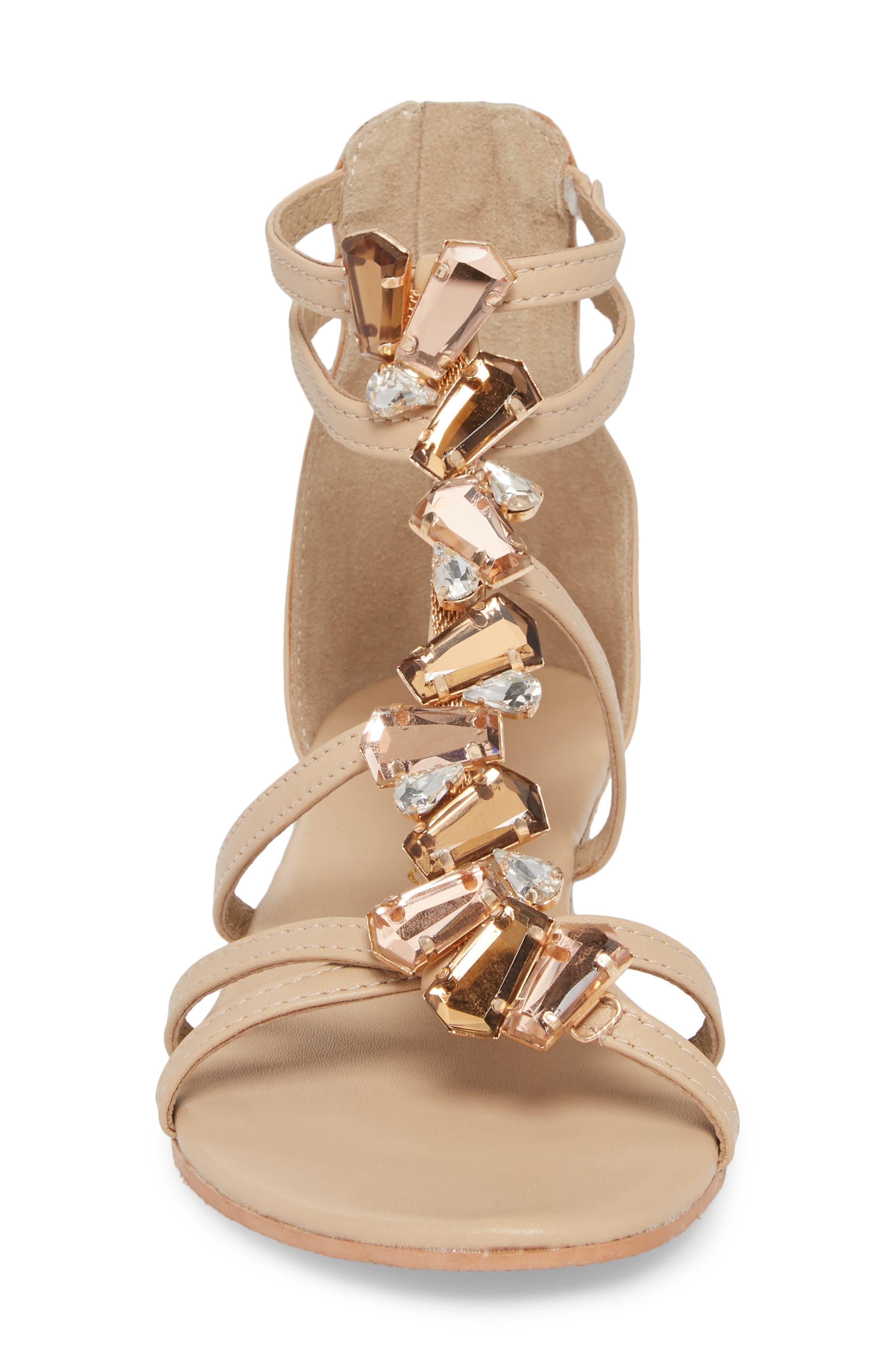 Didi Crystal Embellished Sandal,                             Alternate thumbnail 4, color,                             NATURAL LEATHER