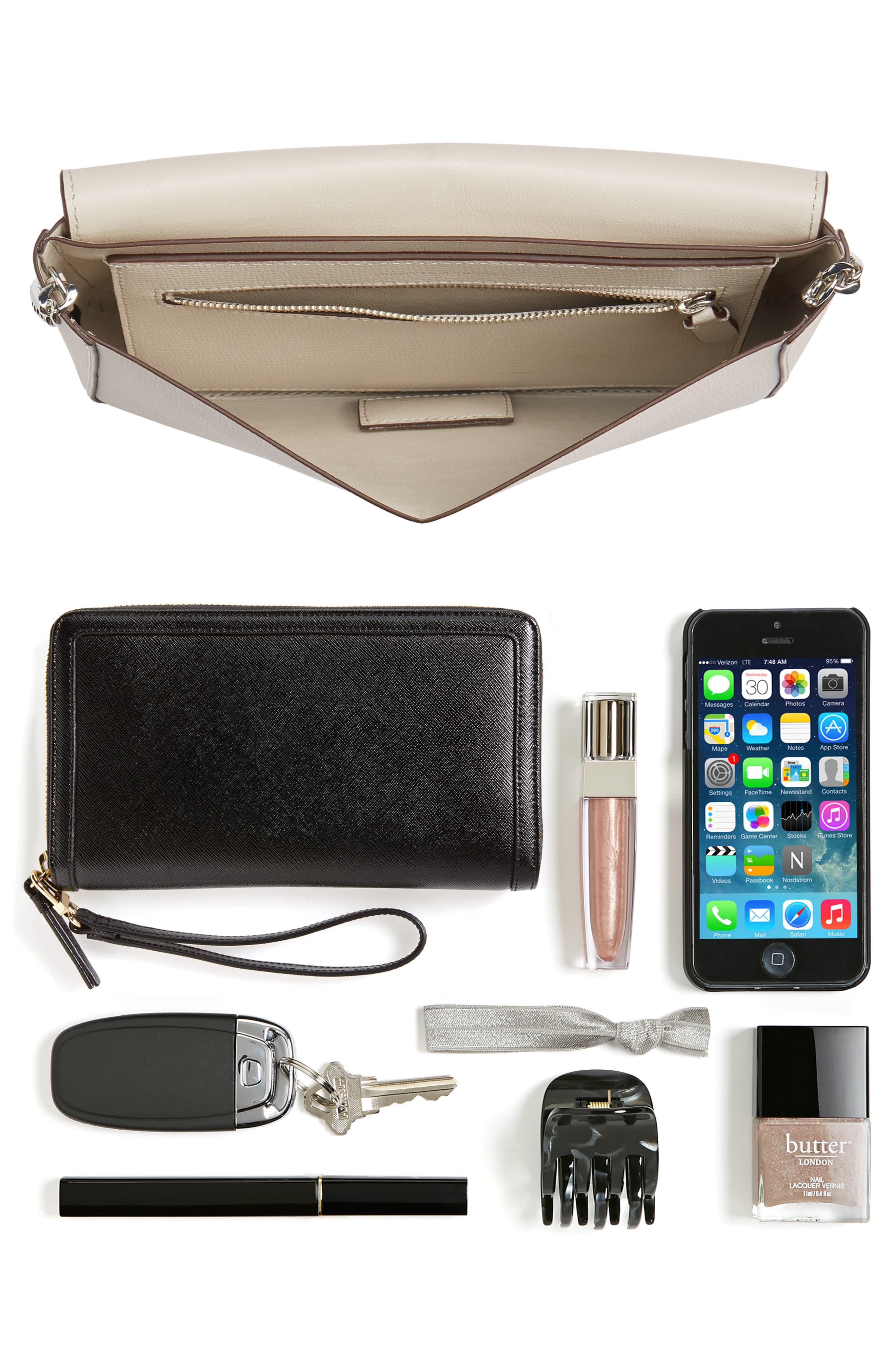 Lock Leather Flap Clutch/Shoulder Bag,                             Alternate thumbnail 7, color,                             030