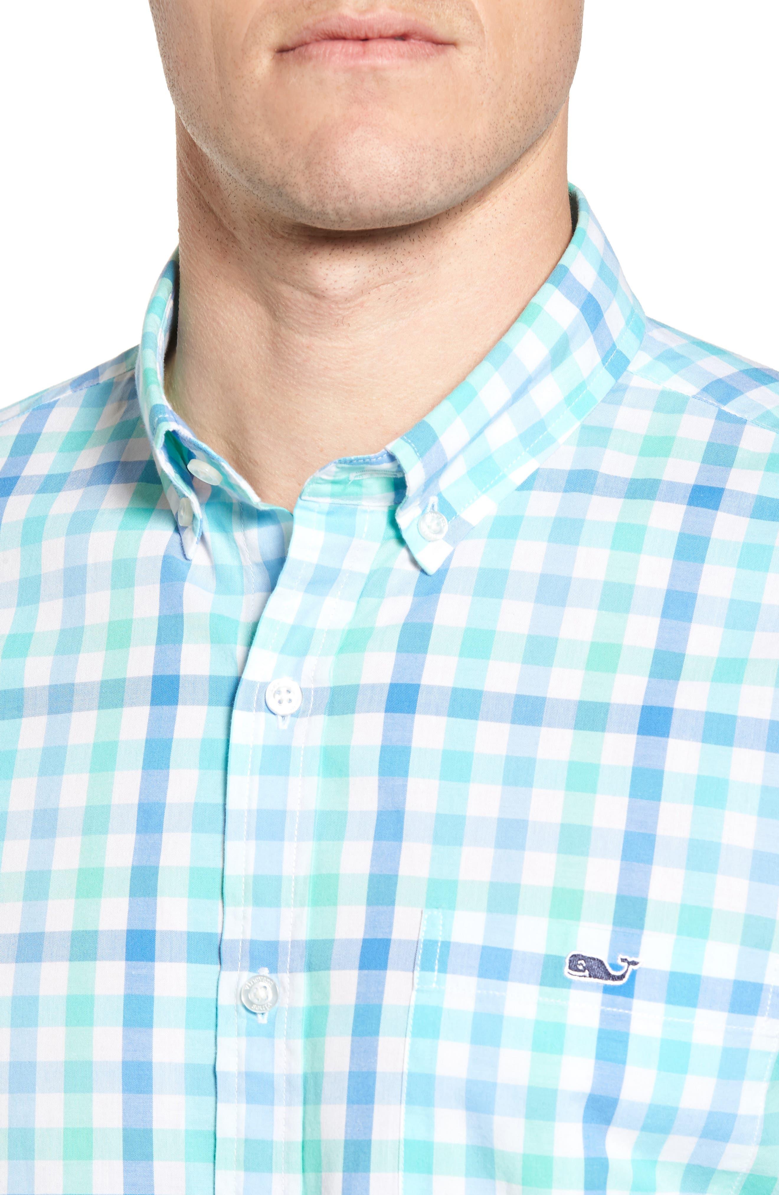 Eagles Nest Tucker Slim Fit Gingham Sport Shirt,                             Alternate thumbnail 4, color,