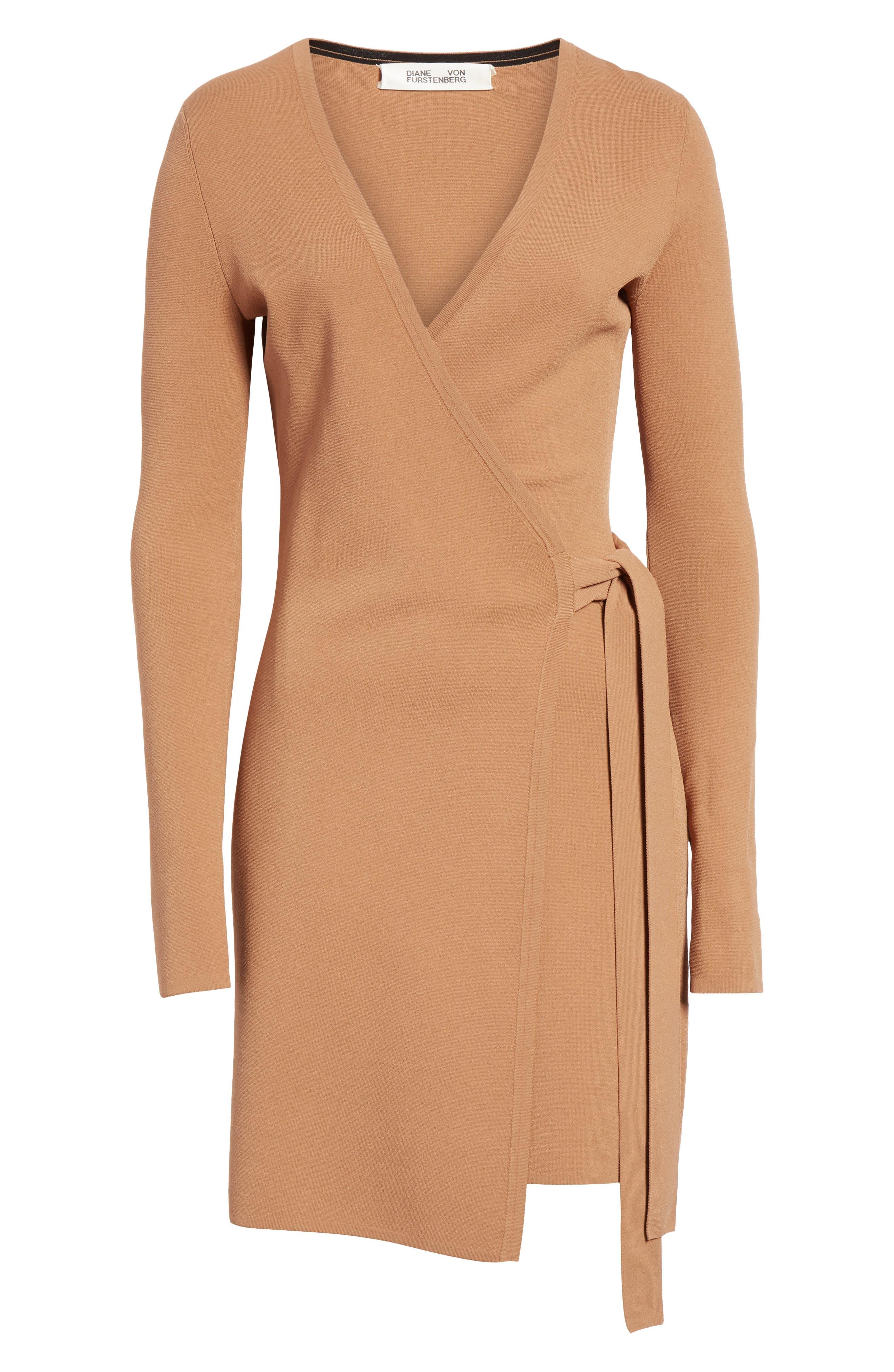 Diane von Furstenberg Knit Wrap Dress,                             Alternate thumbnail 6, color,                             WALNUT