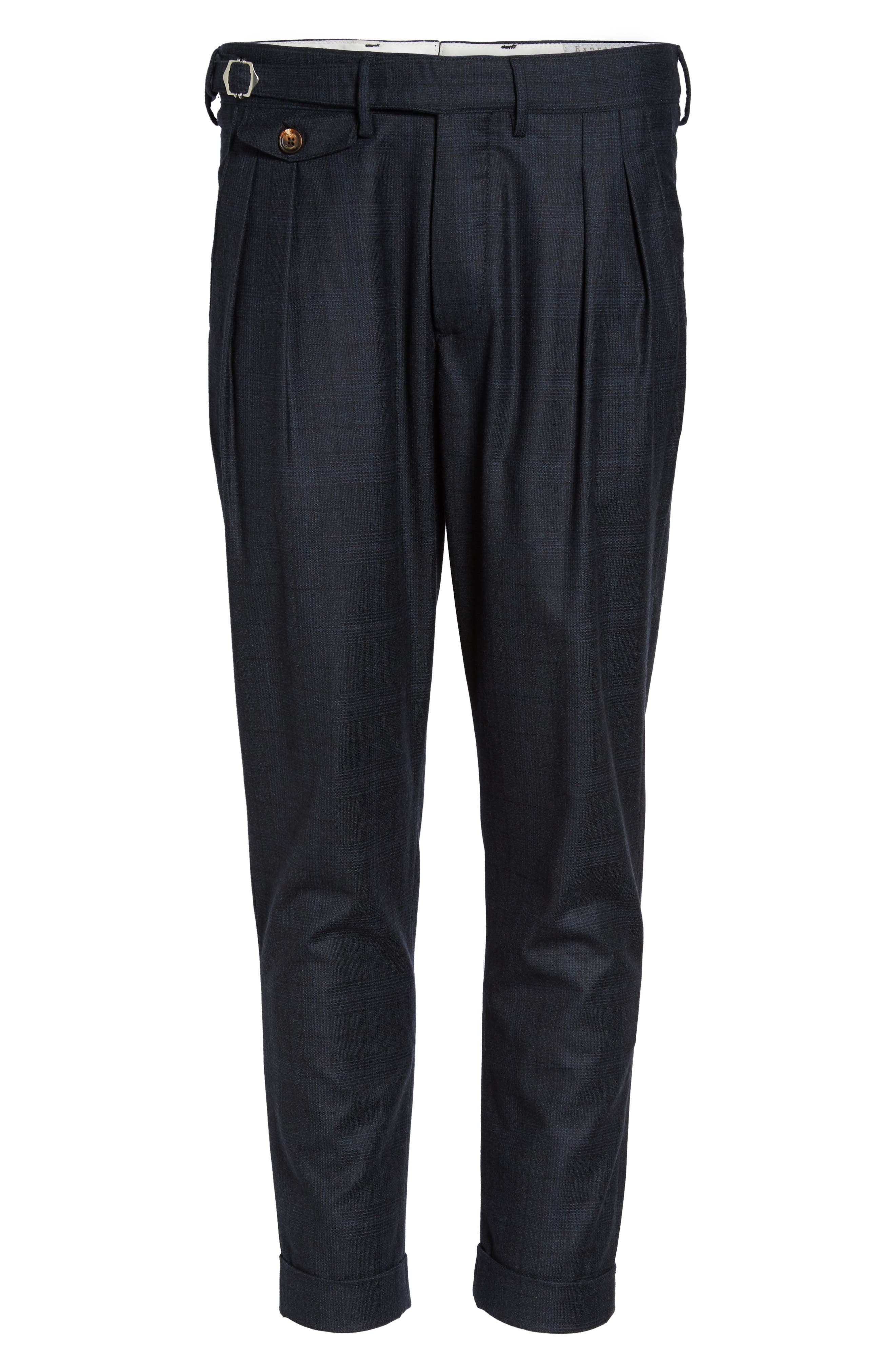 Glen Plaid Pleat Front Wool Pants,                             Alternate thumbnail 6, color,                             410