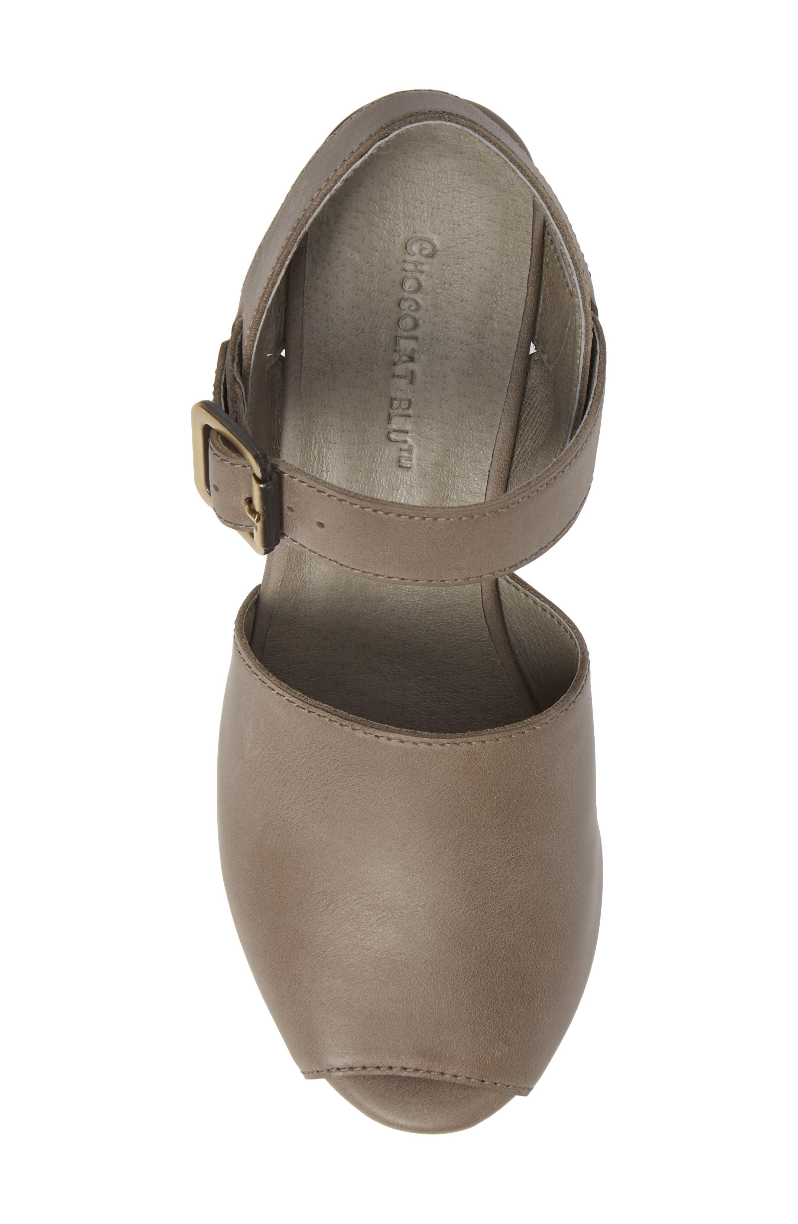 Wagga Platform Wedge Sandal,                             Alternate thumbnail 5, color,                             GREY LEATHER