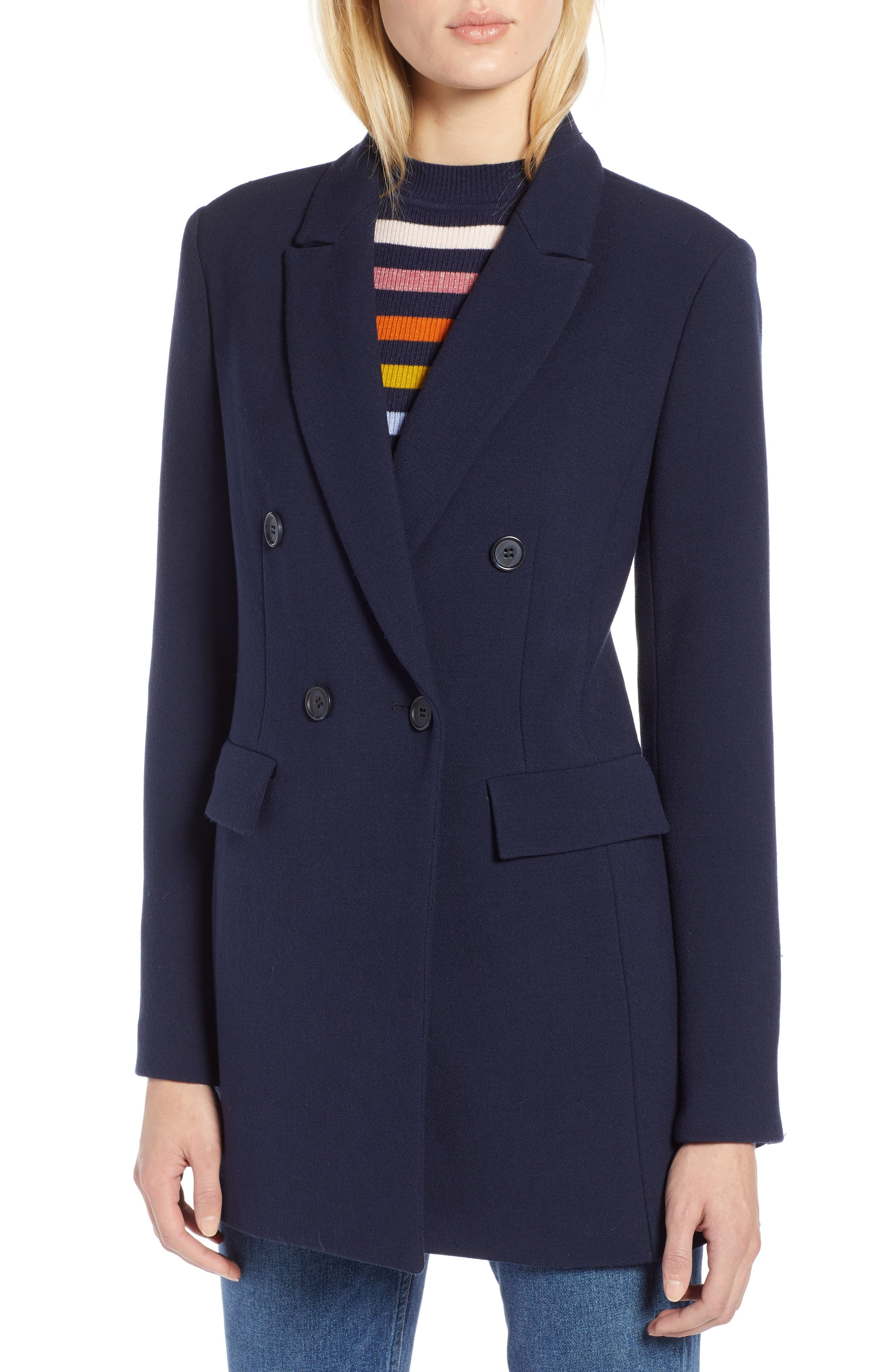 x Atlantic-Pacific Menswear Double Breasted Blazer,                             Alternate thumbnail 6, color,                             NAVY