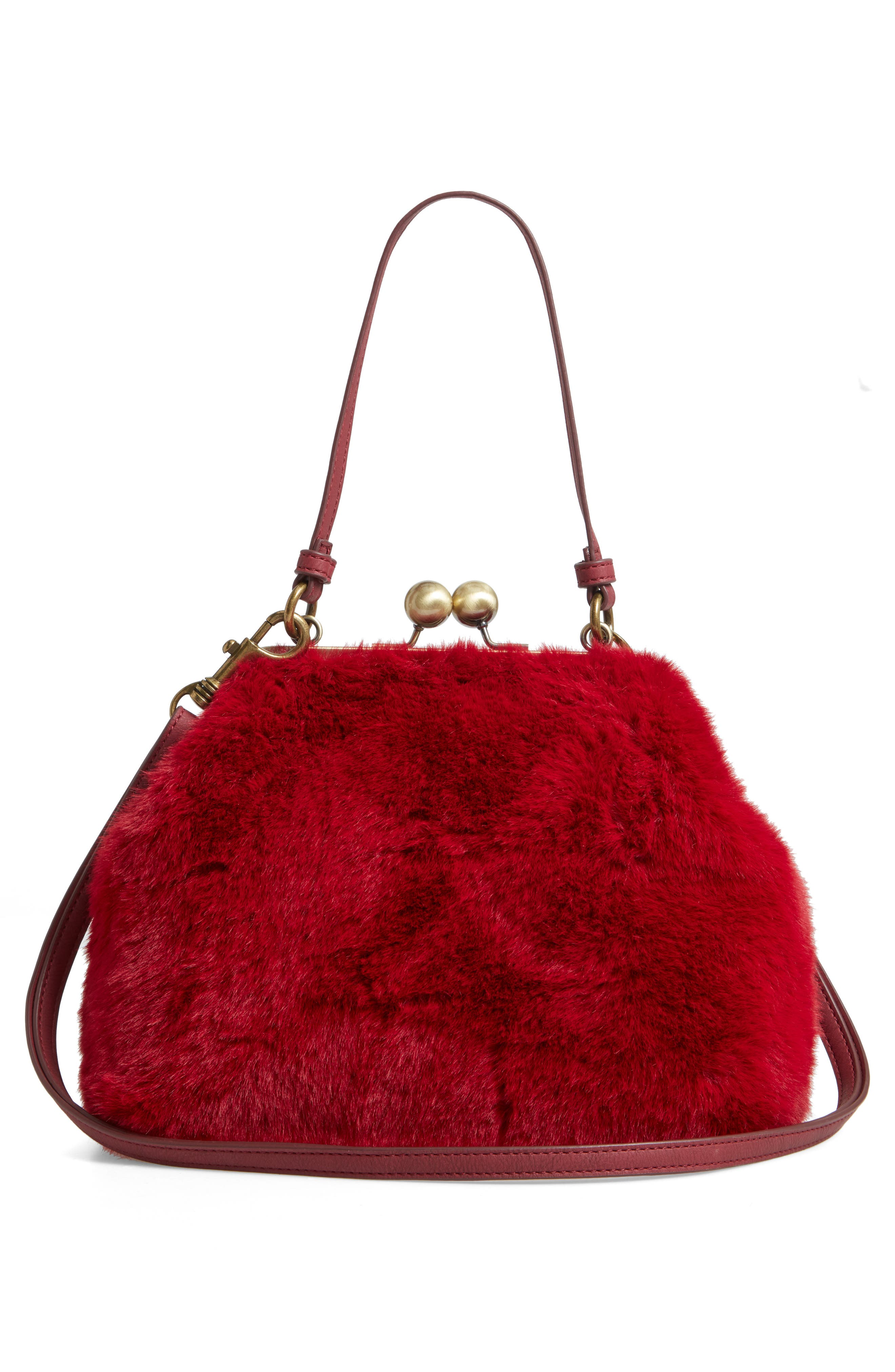 Faux Fur Oversize Coin Bag,                             Alternate thumbnail 3, color,                             BURGUNDY