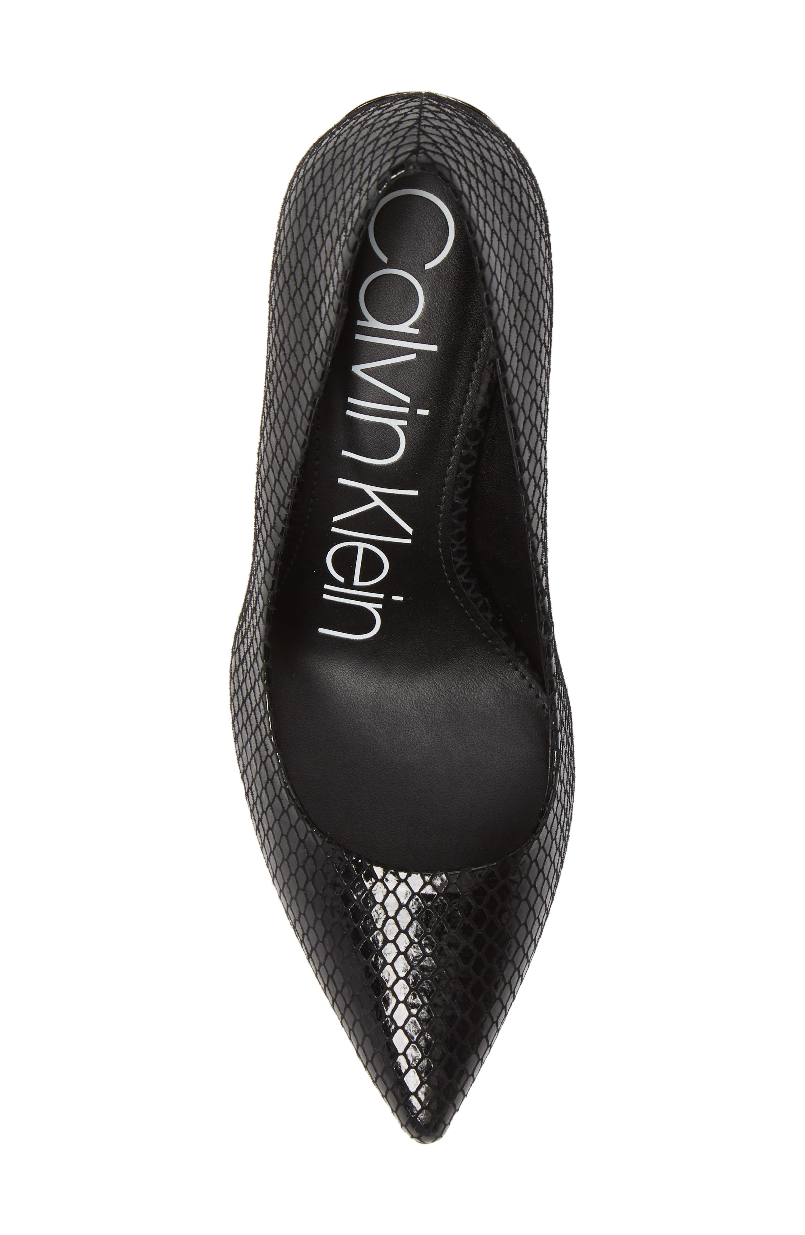 CALVIN KLEIN,                             'Gayle' Pointy Toe Pump,                             Alternate thumbnail 5, color,                             BLACK SNAKE PRINT LEATHER