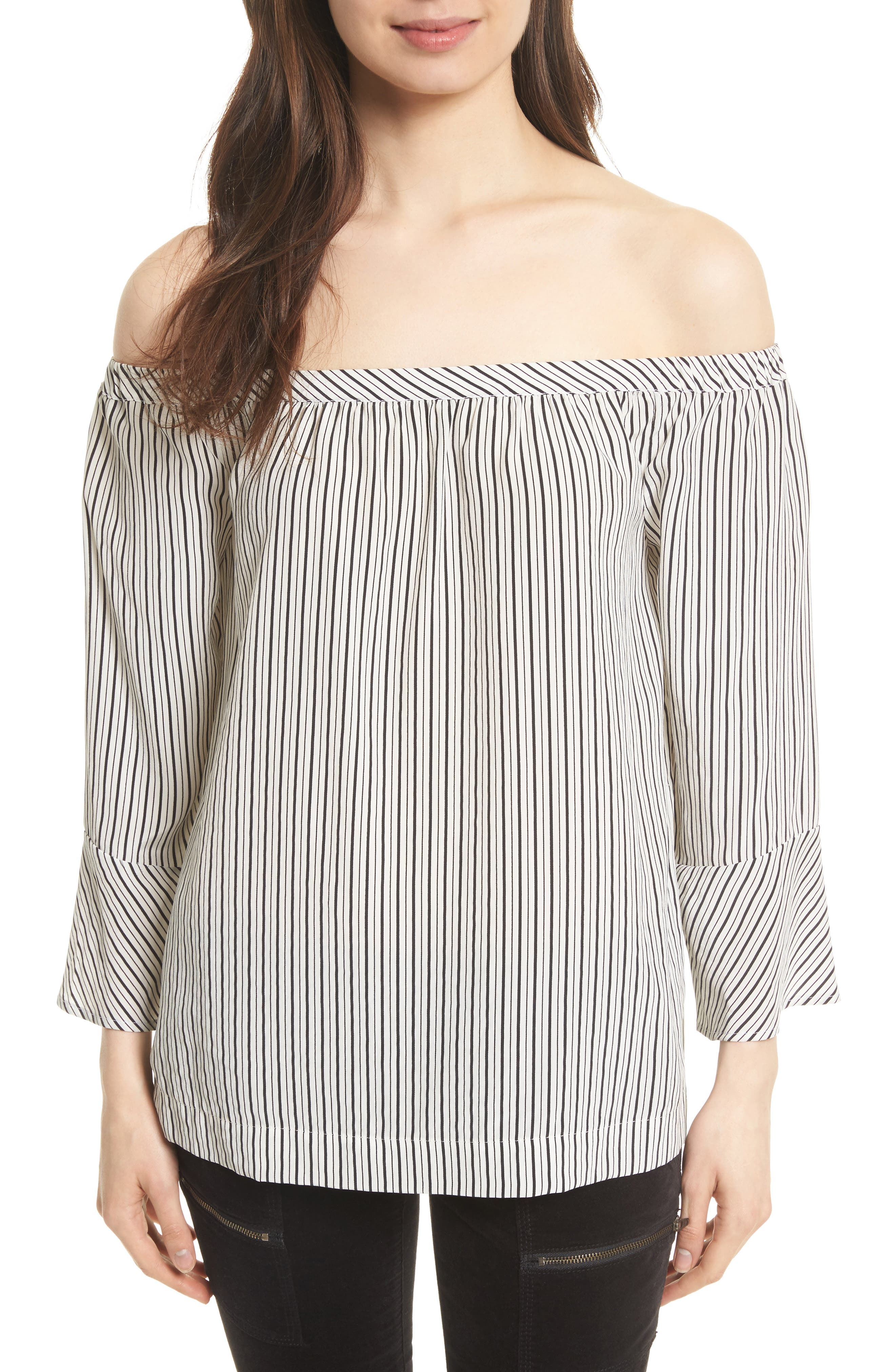 Dinora Off the Shoulder Stripe Silk Top,                             Main thumbnail 1, color,                             123