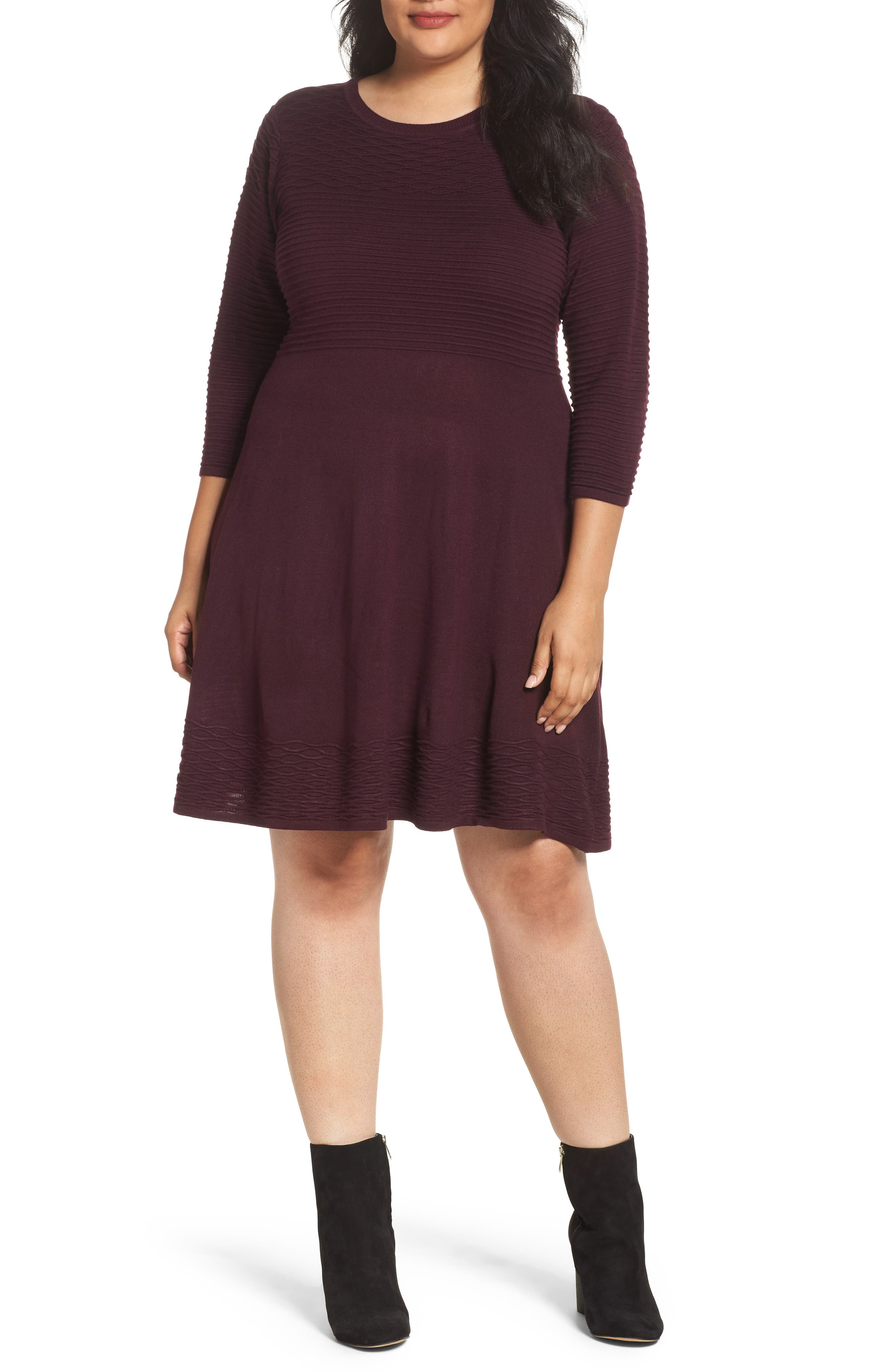 Knit Fit & Flare Dress,                             Main thumbnail 1, color,