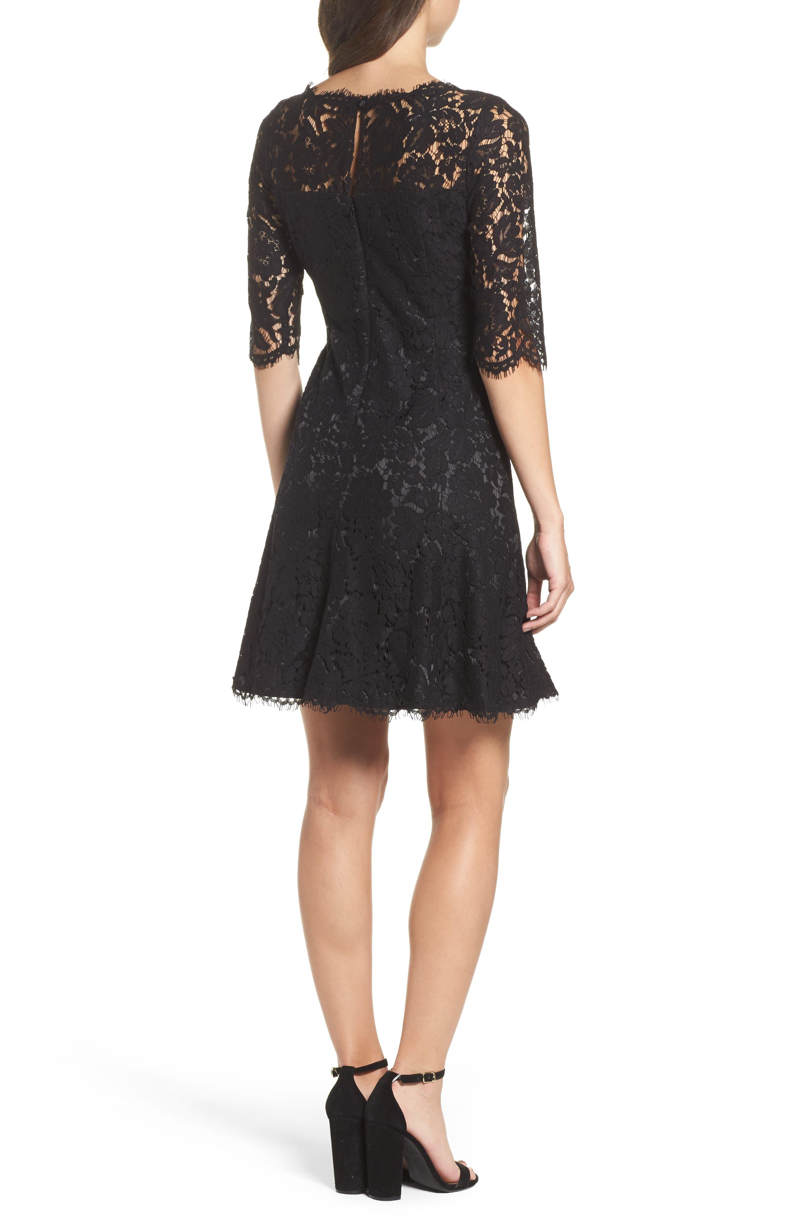 Lace Fit & Flare Cocktail Dress,                             Alternate thumbnail 2, color,                             BLACK