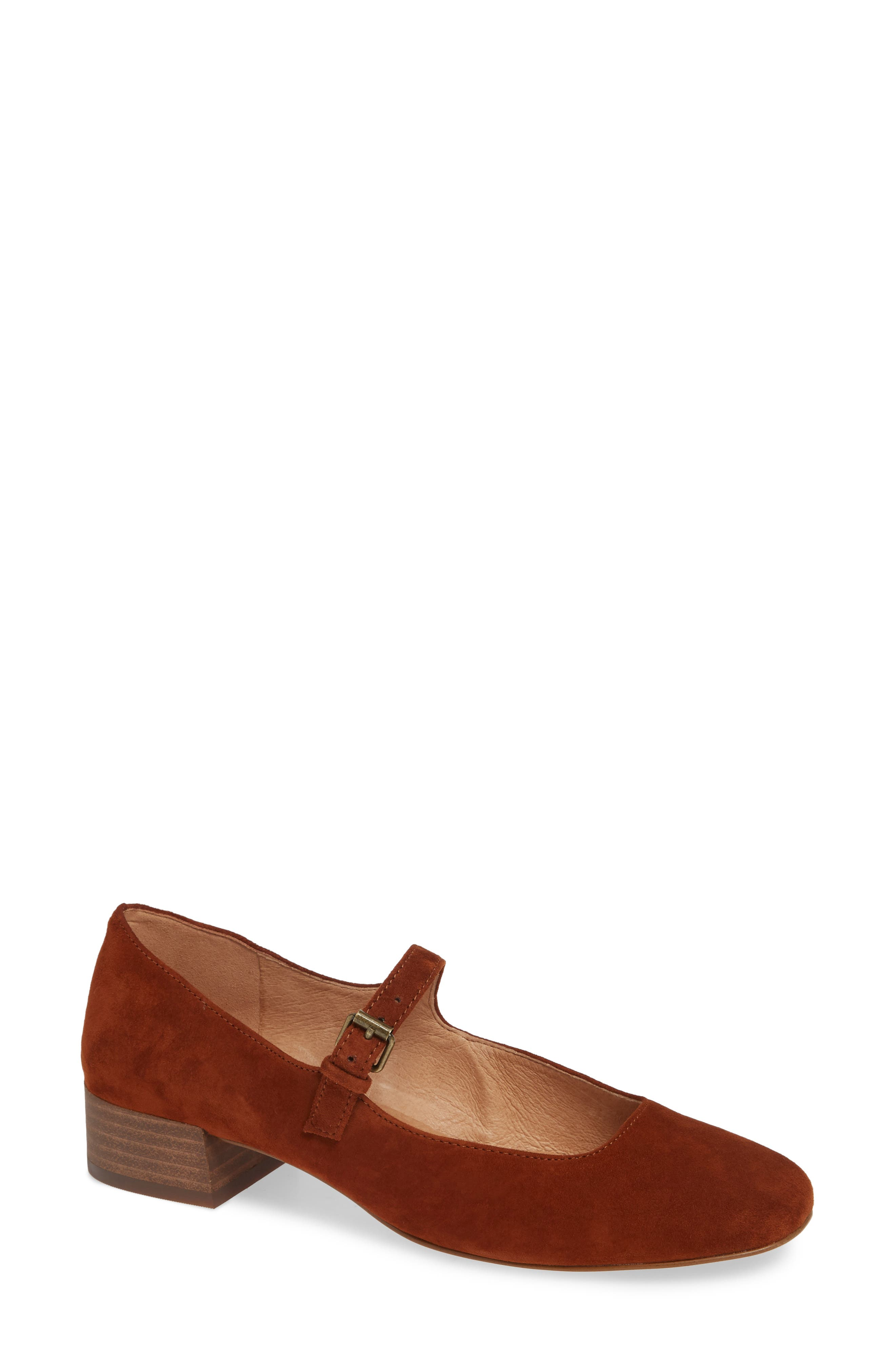 The Delilah Mary Jane Pump,                             Main thumbnail 1, color,                             MAPLE SYRUP SUEDE