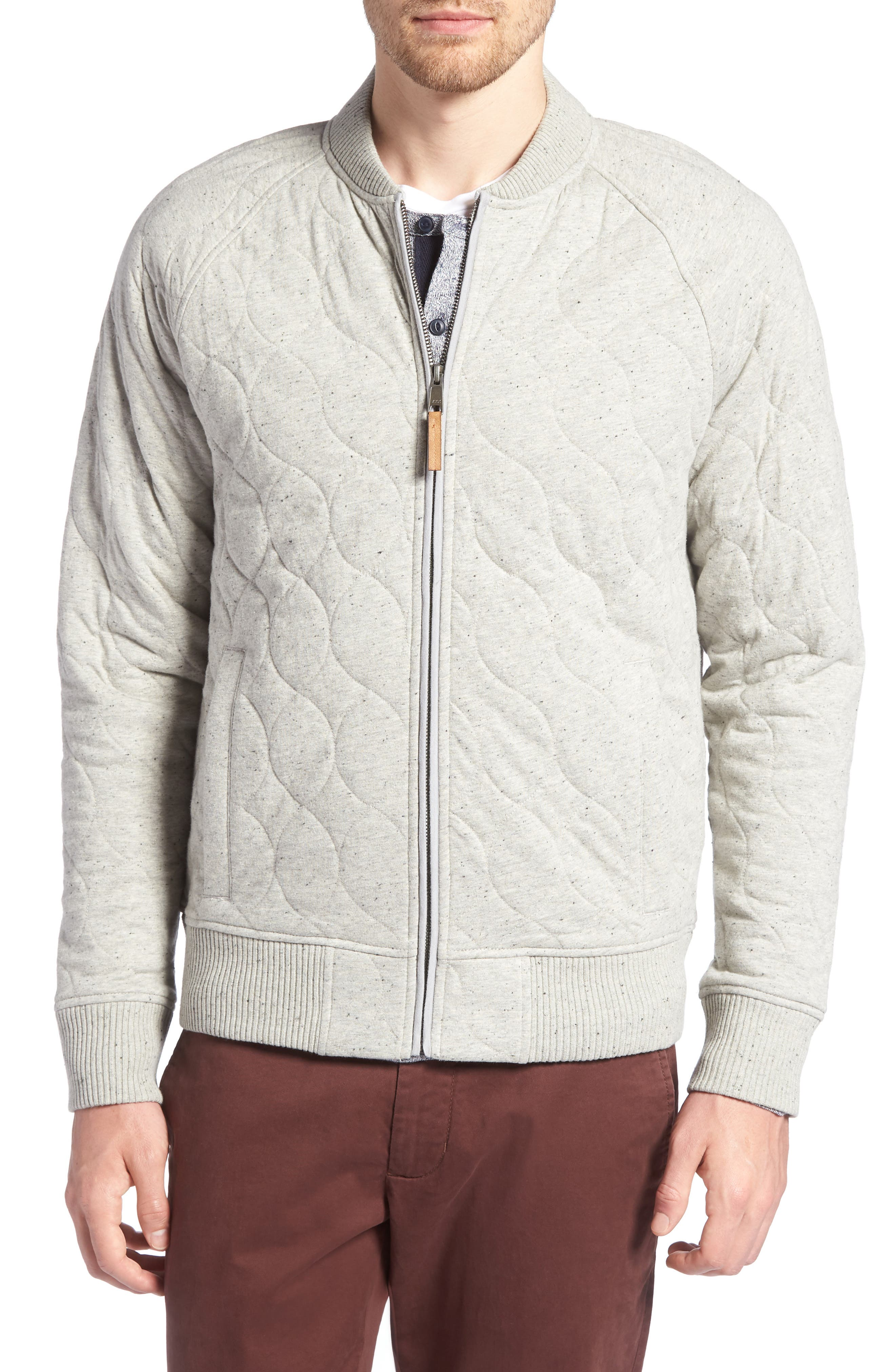 Quilted Bomber Jacket,                             Alternate thumbnail 4, color,                             GREY WEATHER NEP