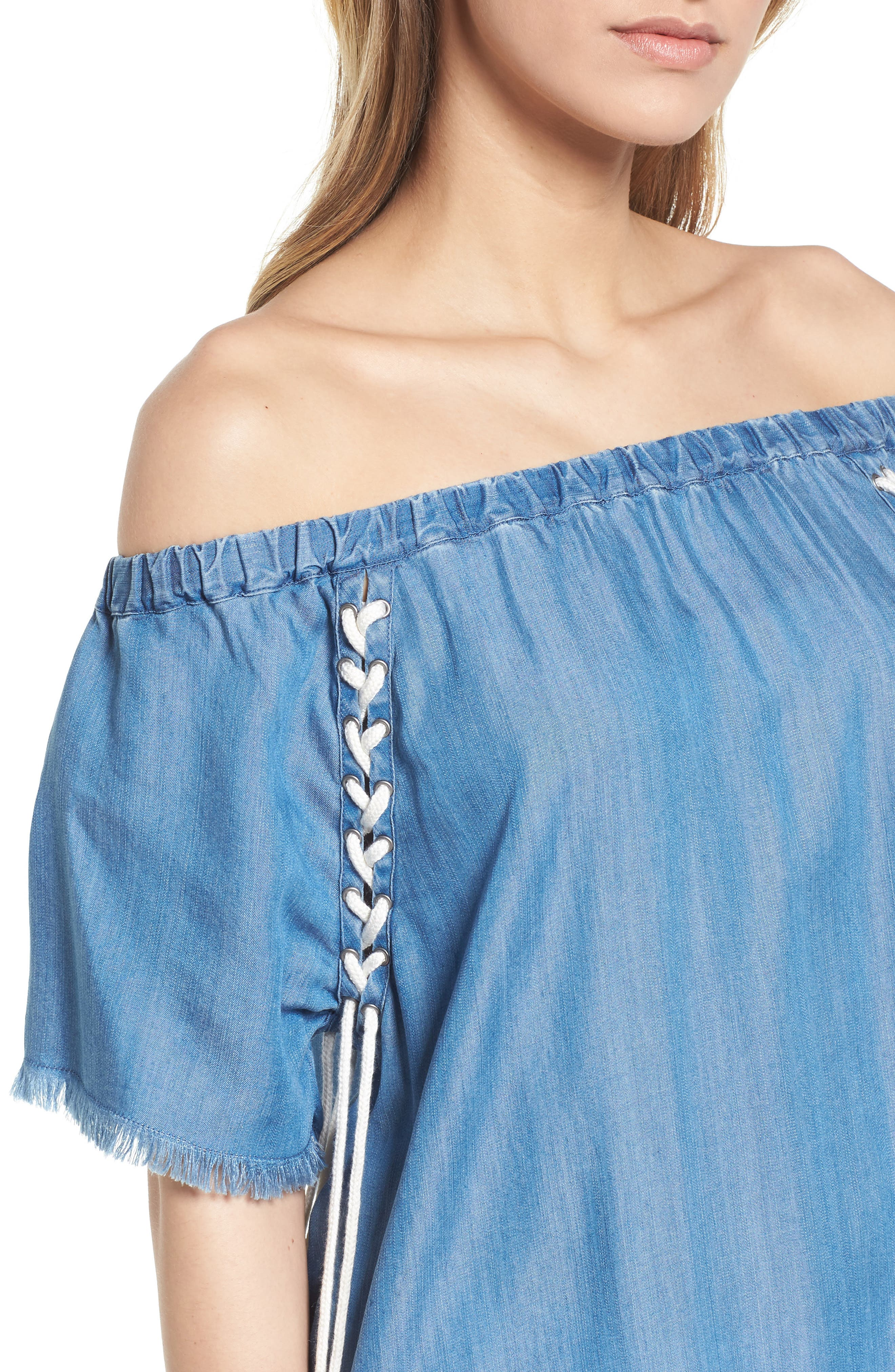 Lace-Up Side Off the Shoulder Top,                             Alternate thumbnail 4, color,                             421