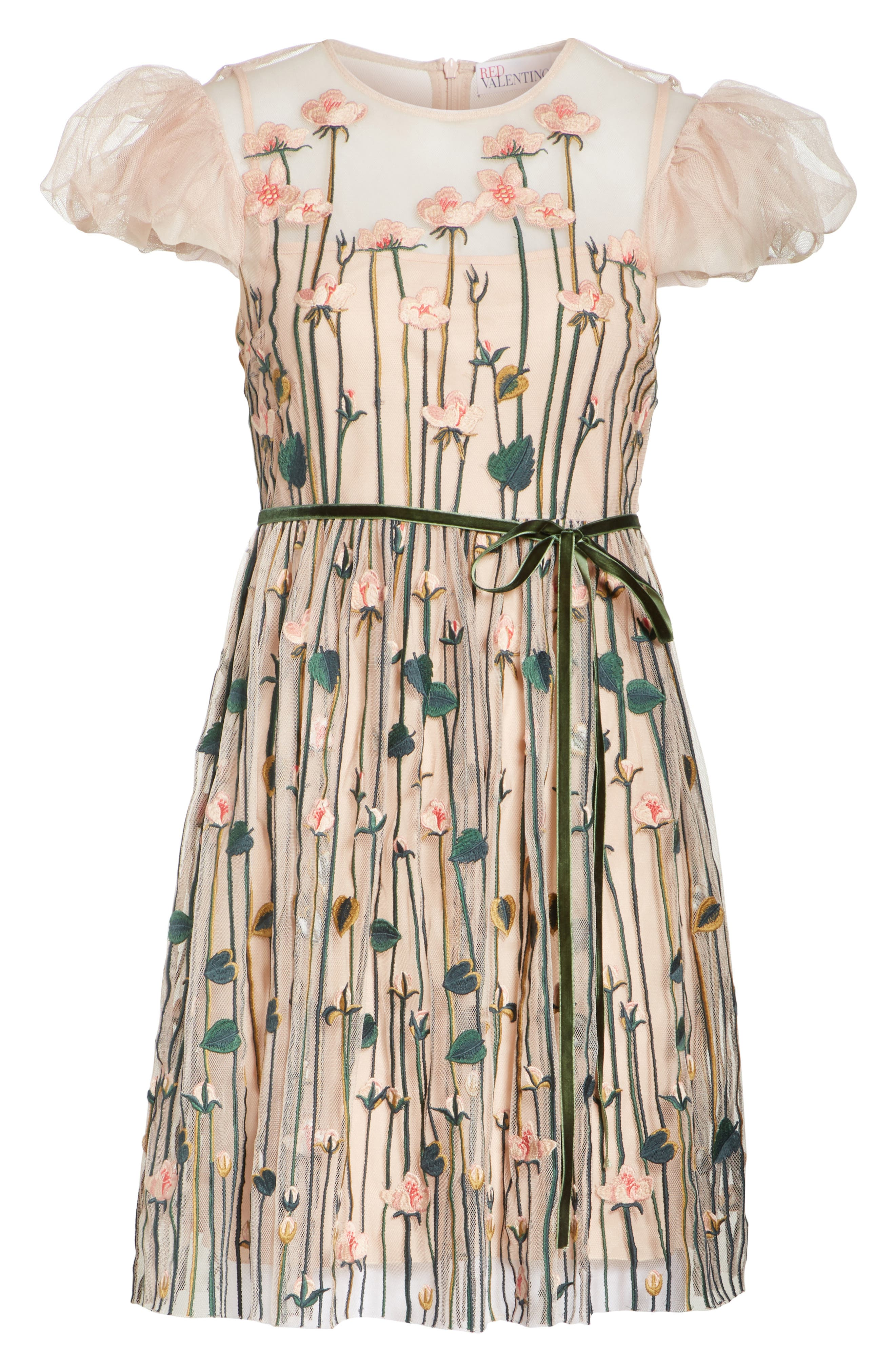 Floral Embroidered Dress,                             Alternate thumbnail 6, color,                             NUDE