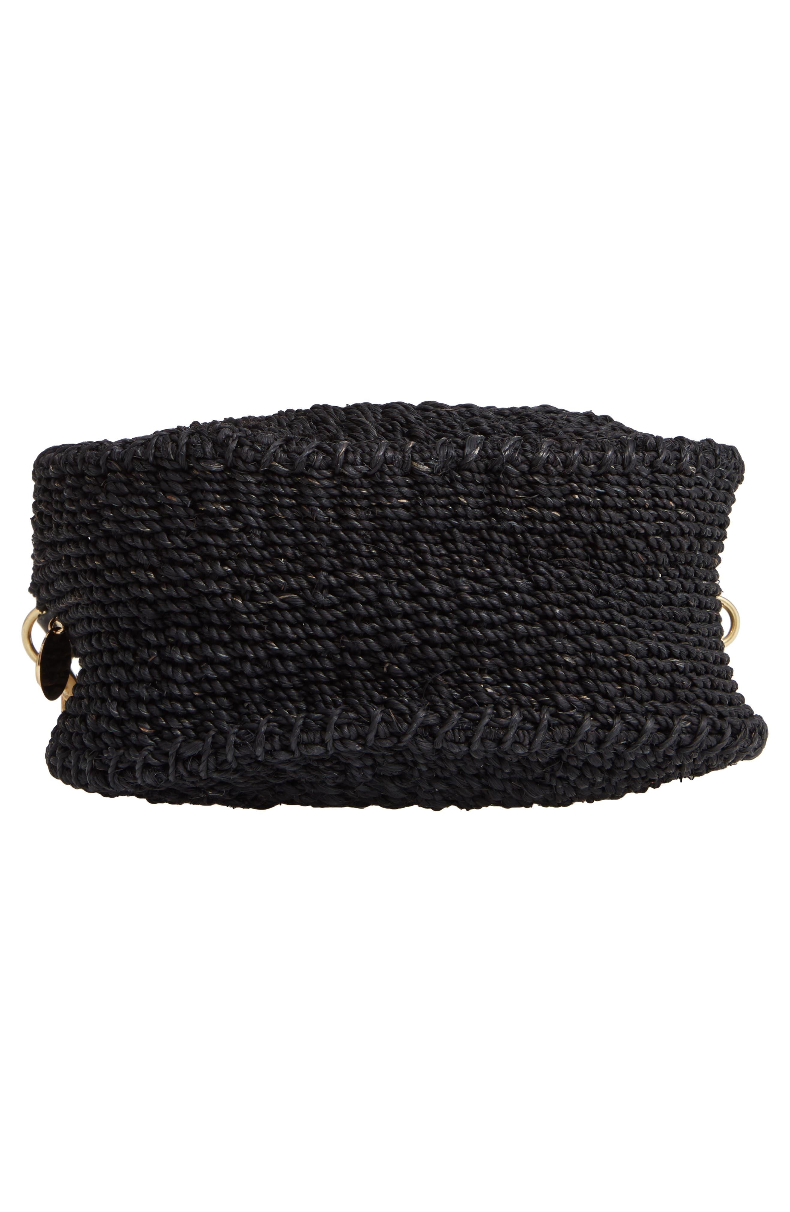 Petite Alice Straw Bag,                             Alternate thumbnail 6, color,                             BLACK