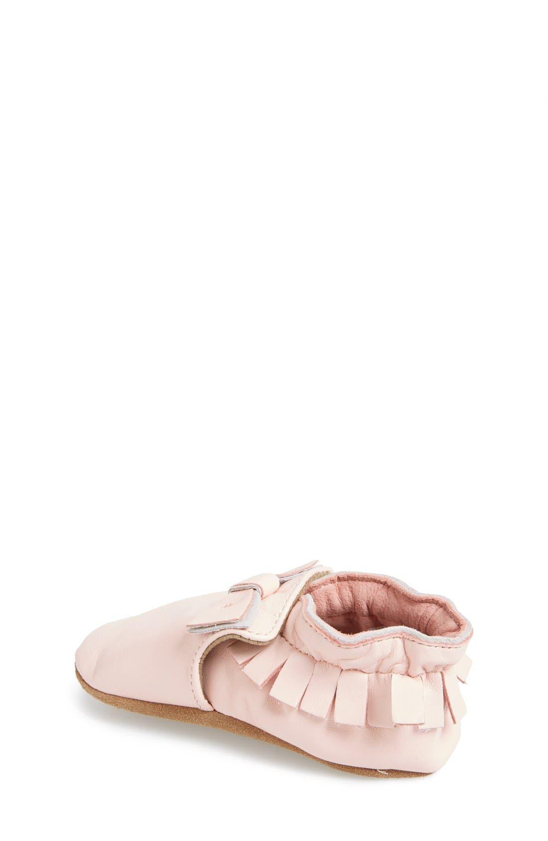 'Maggie Moccasin' Crib Shoe,                             Alternate thumbnail 2, color,                             PASTEL PINK