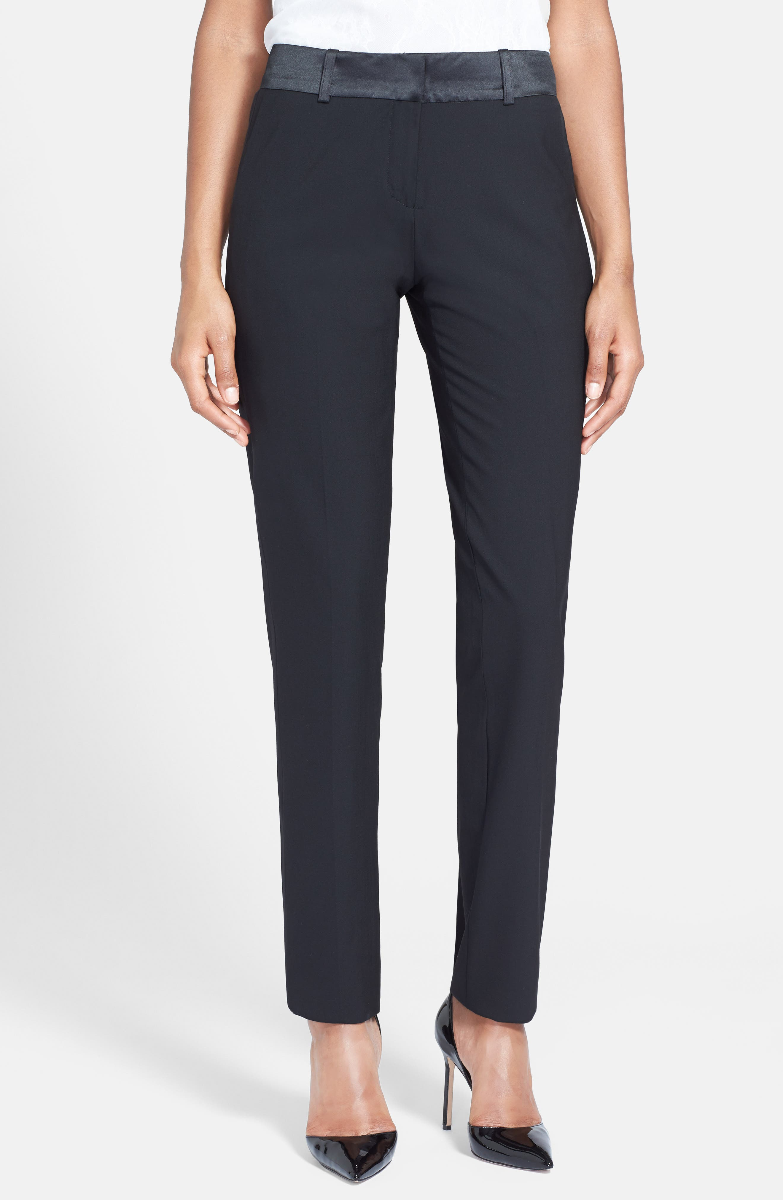 Stretch Wool Tuxedo Pants,                             Alternate thumbnail 4, color,                             BLACK