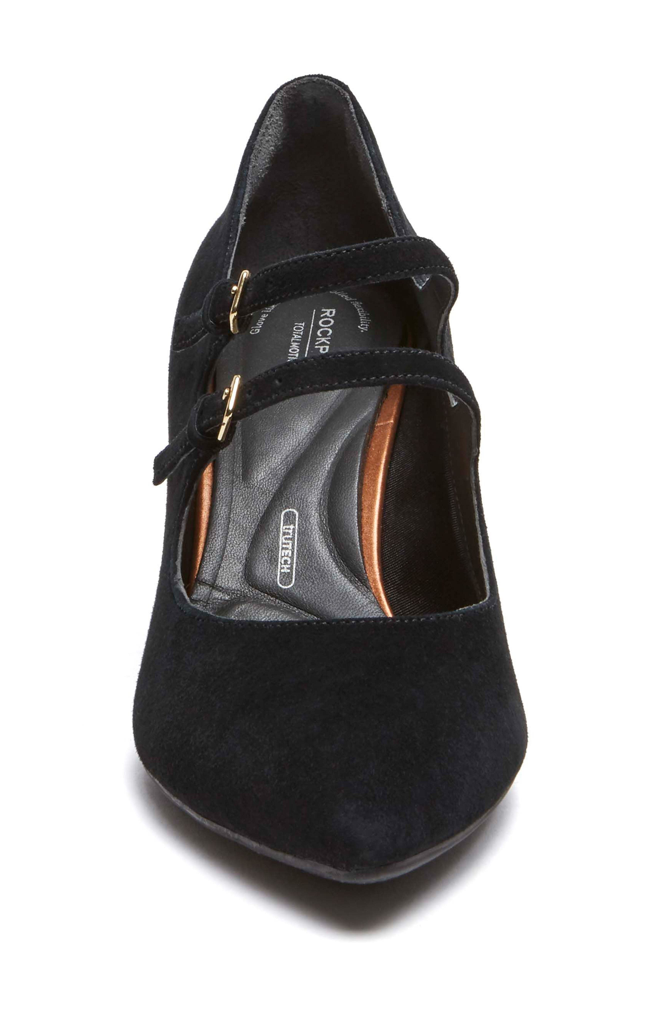 Violina Luxe Double Strap Mary Jane Pump,                             Alternate thumbnail 4, color,                             BLACK SUEDE