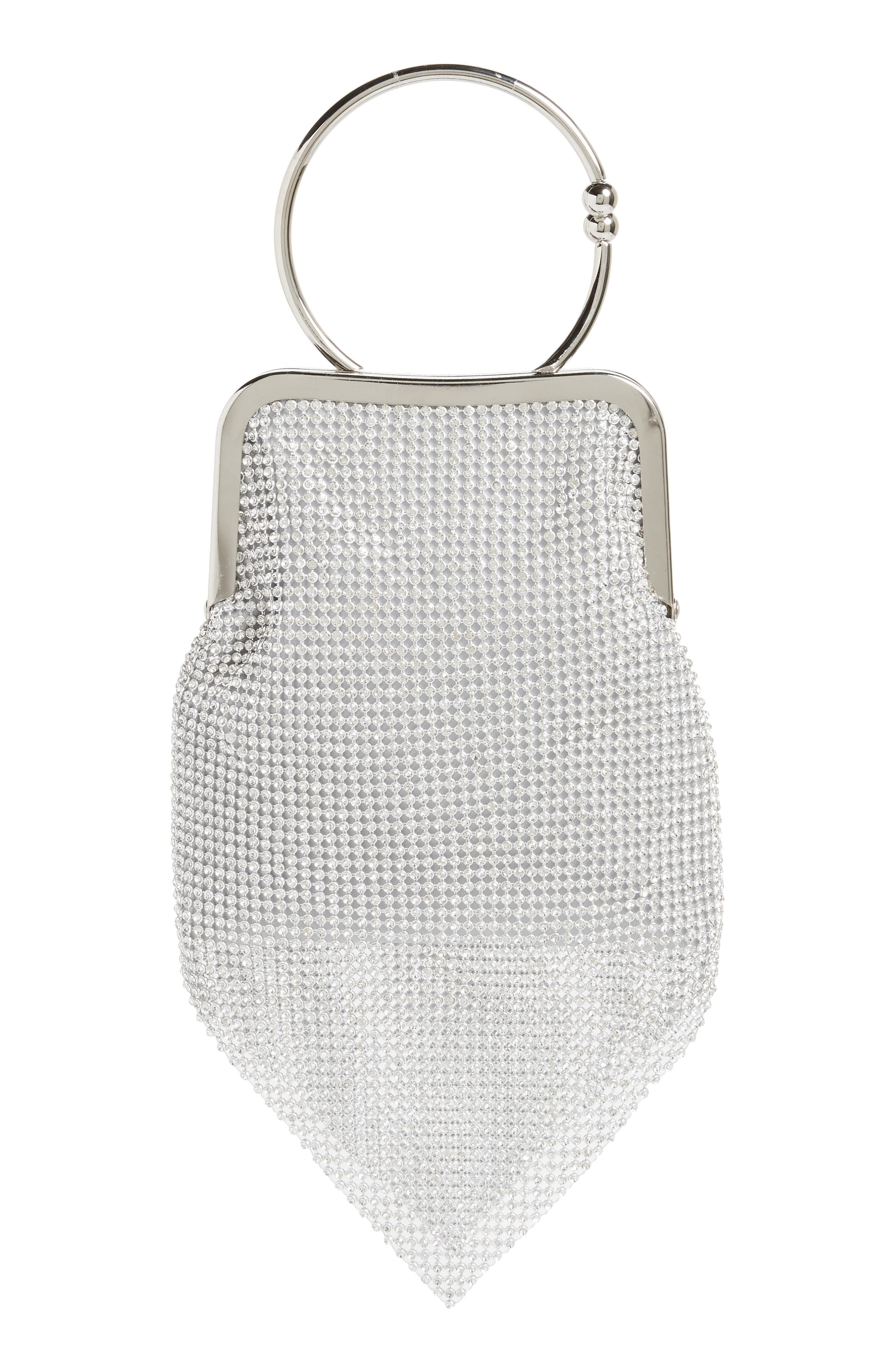 Ring Mesh Clutch,                             Main thumbnail 1, color,                             SILVER