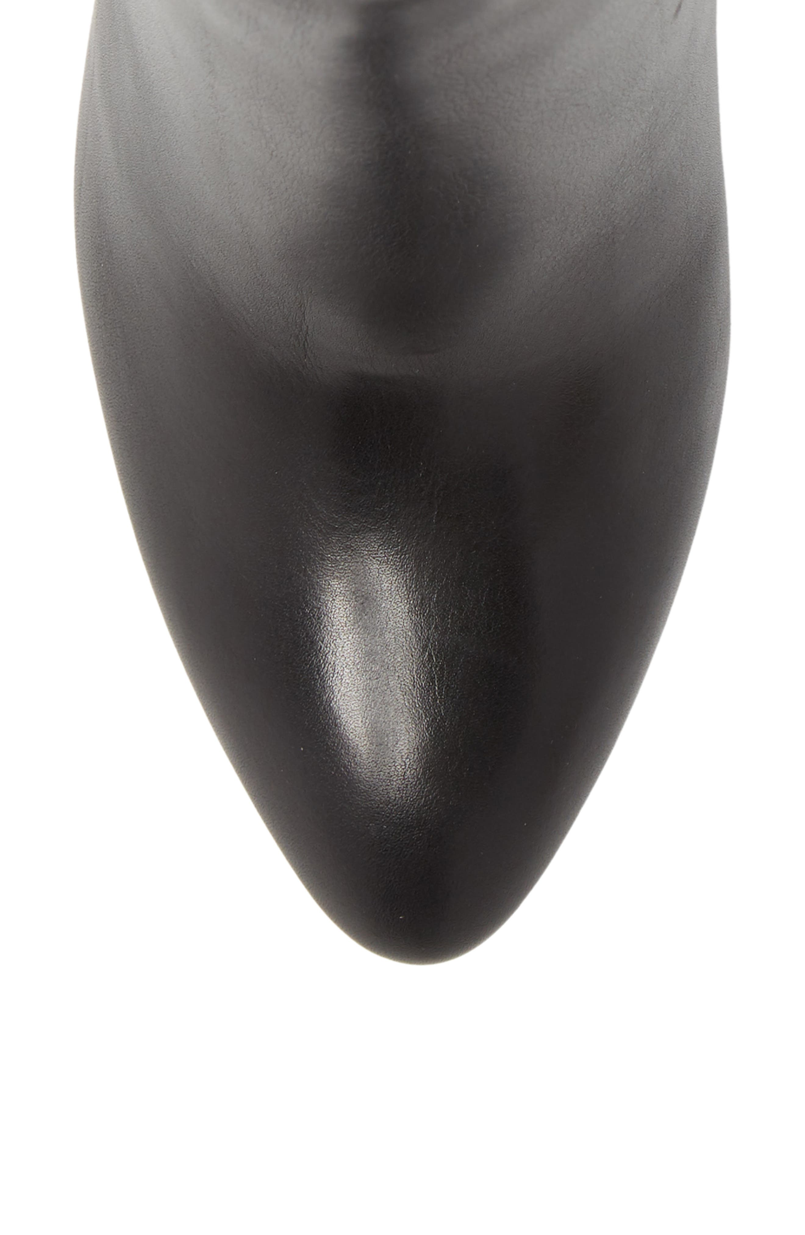 Eloise Pointy Toe Bootie,                             Alternate thumbnail 5, color,                             BLACK LEATHER