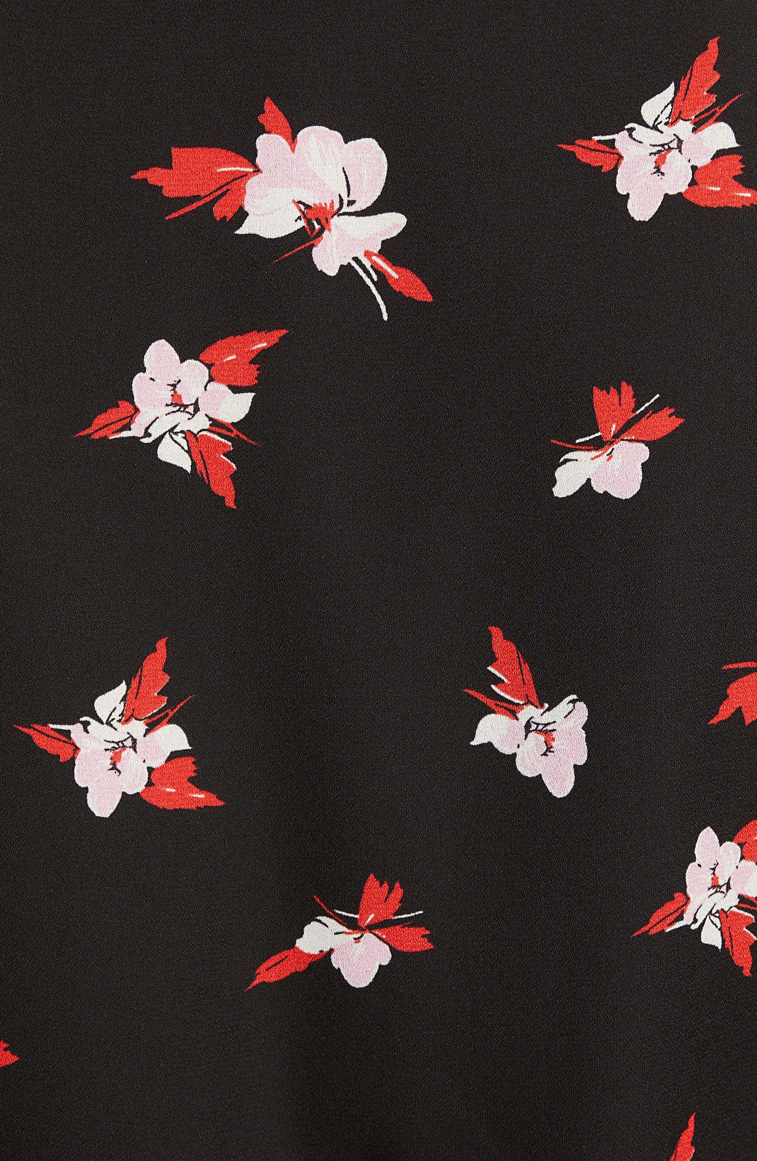 Tie Waist Blouse,                             Alternate thumbnail 5, color,                             BLACK CHERRY BLOOM FLORAL