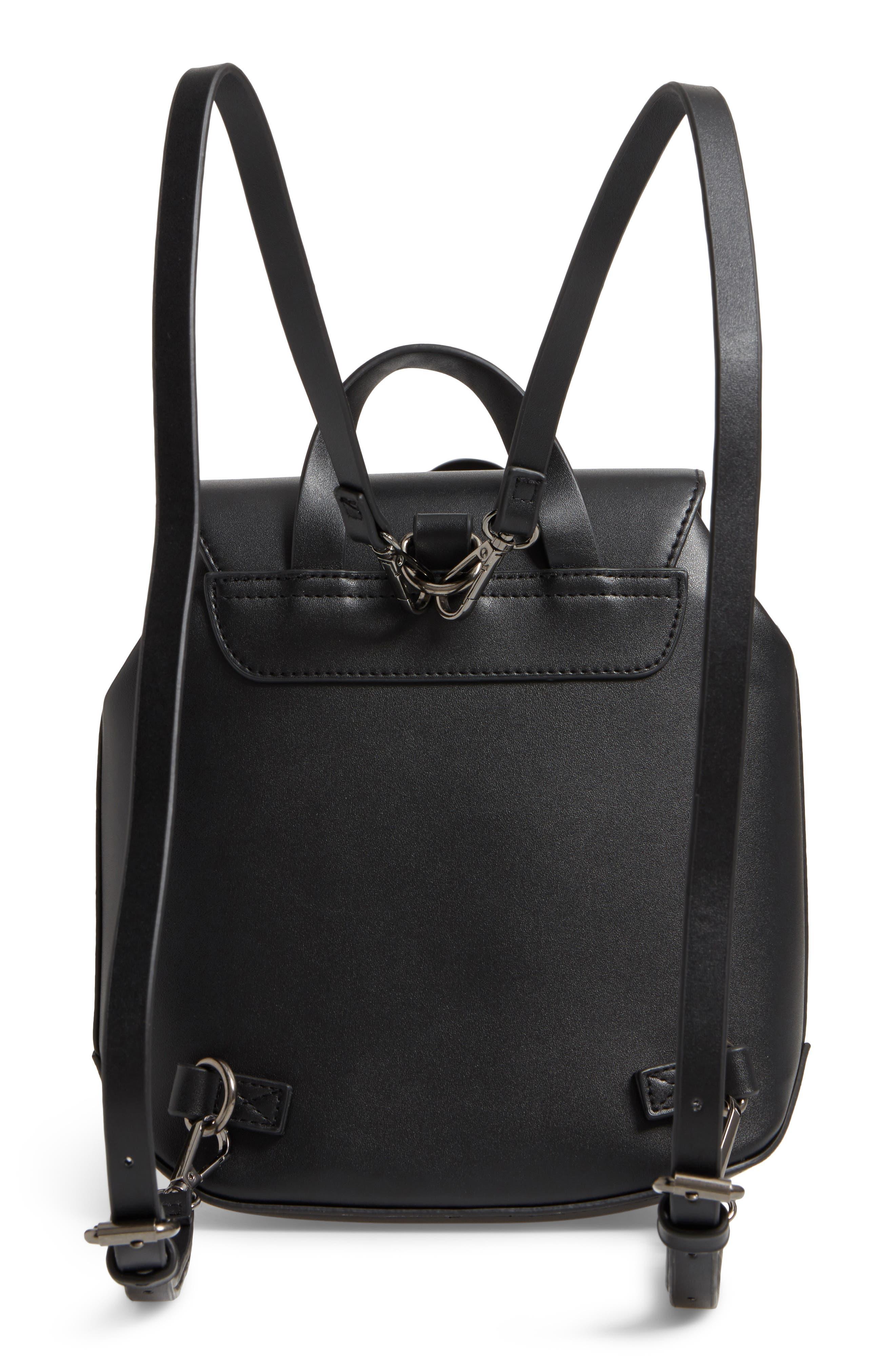 Faux Leather Mini Backpack,                             Alternate thumbnail 3, color,                             001