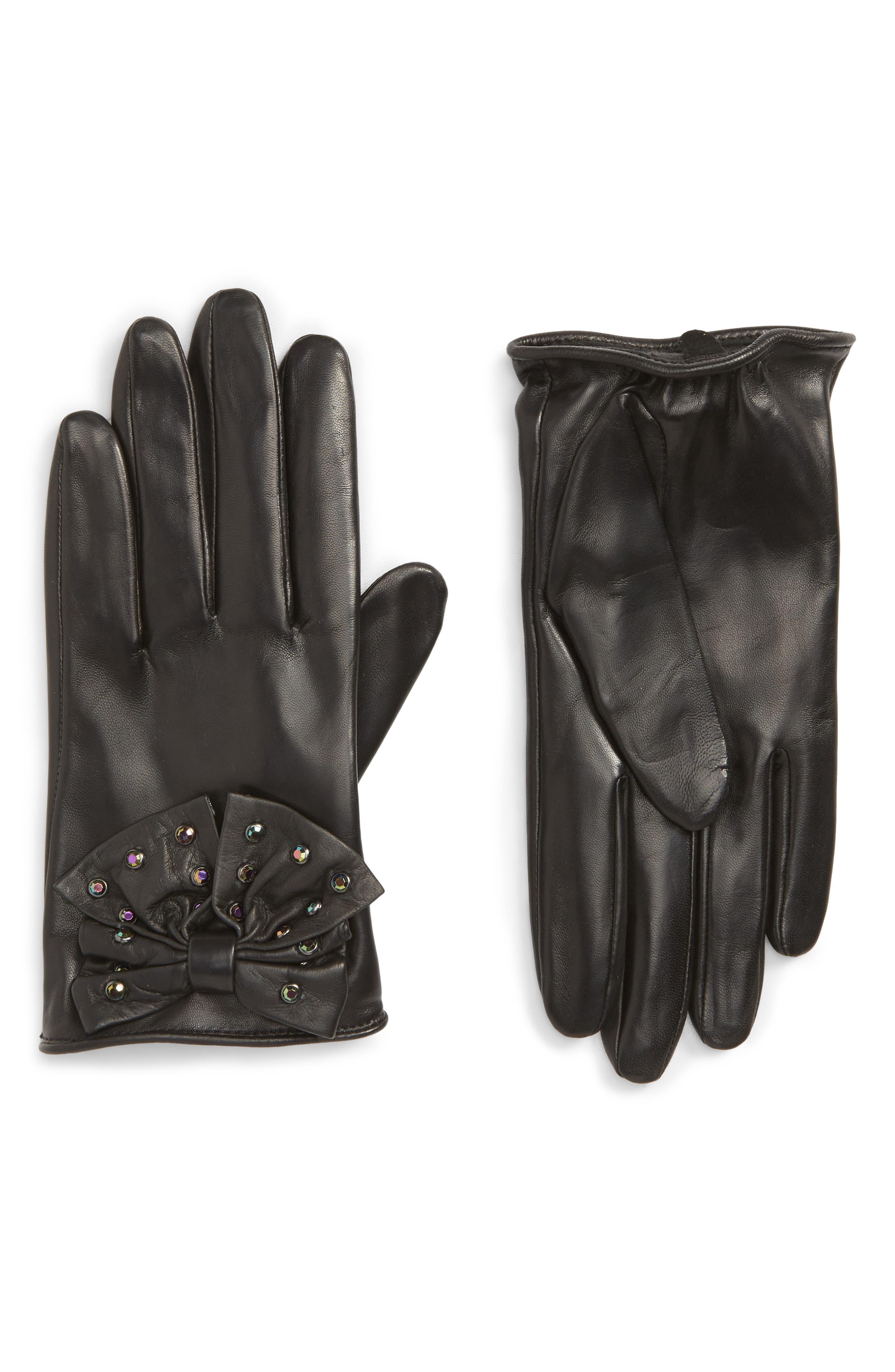 Bow Short Leather Gloves,                             Main thumbnail 1, color,                             BLACK COMBO