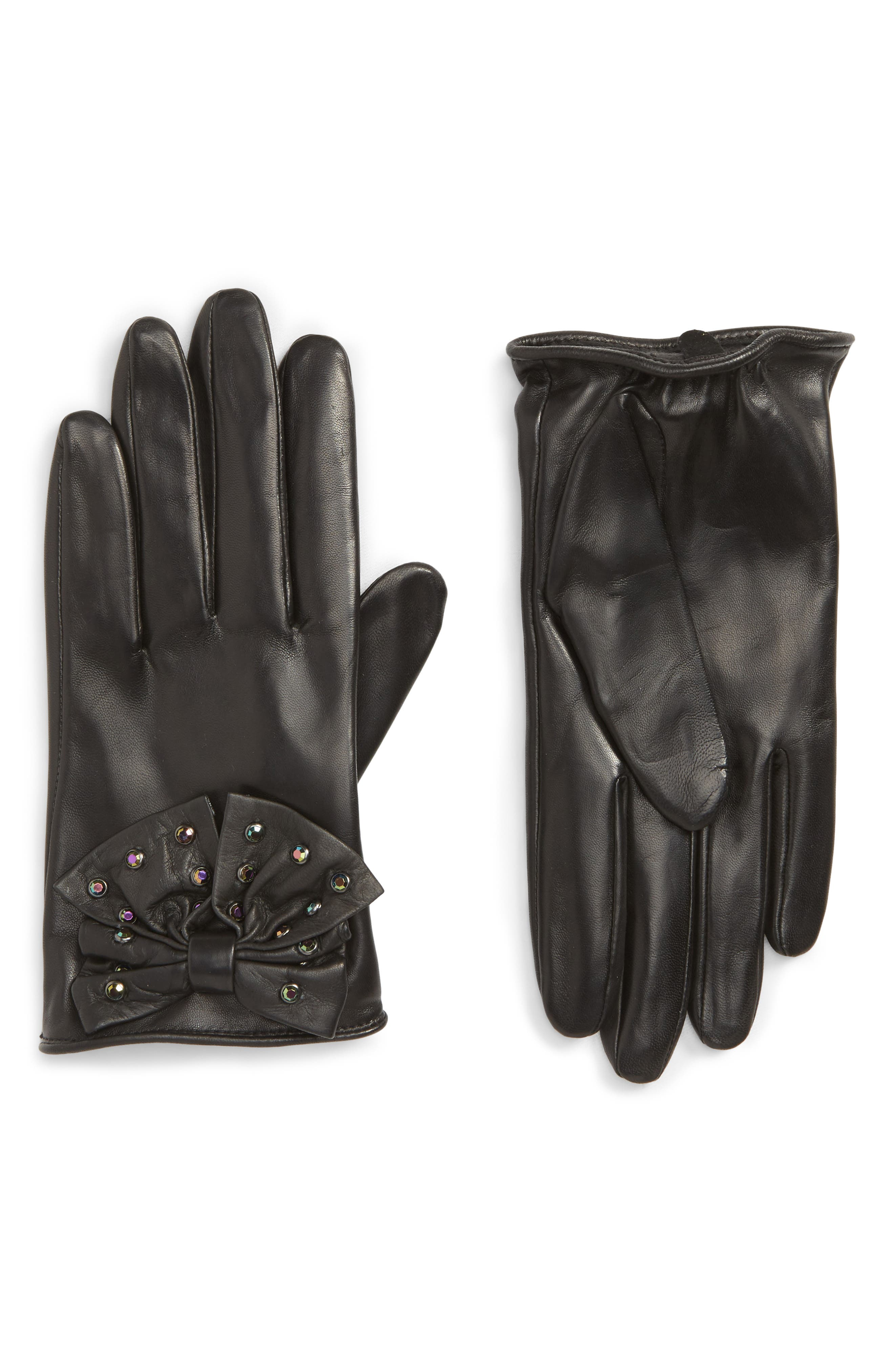 Bow Short Leather Gloves,                         Main,                         color, BLACK COMBO