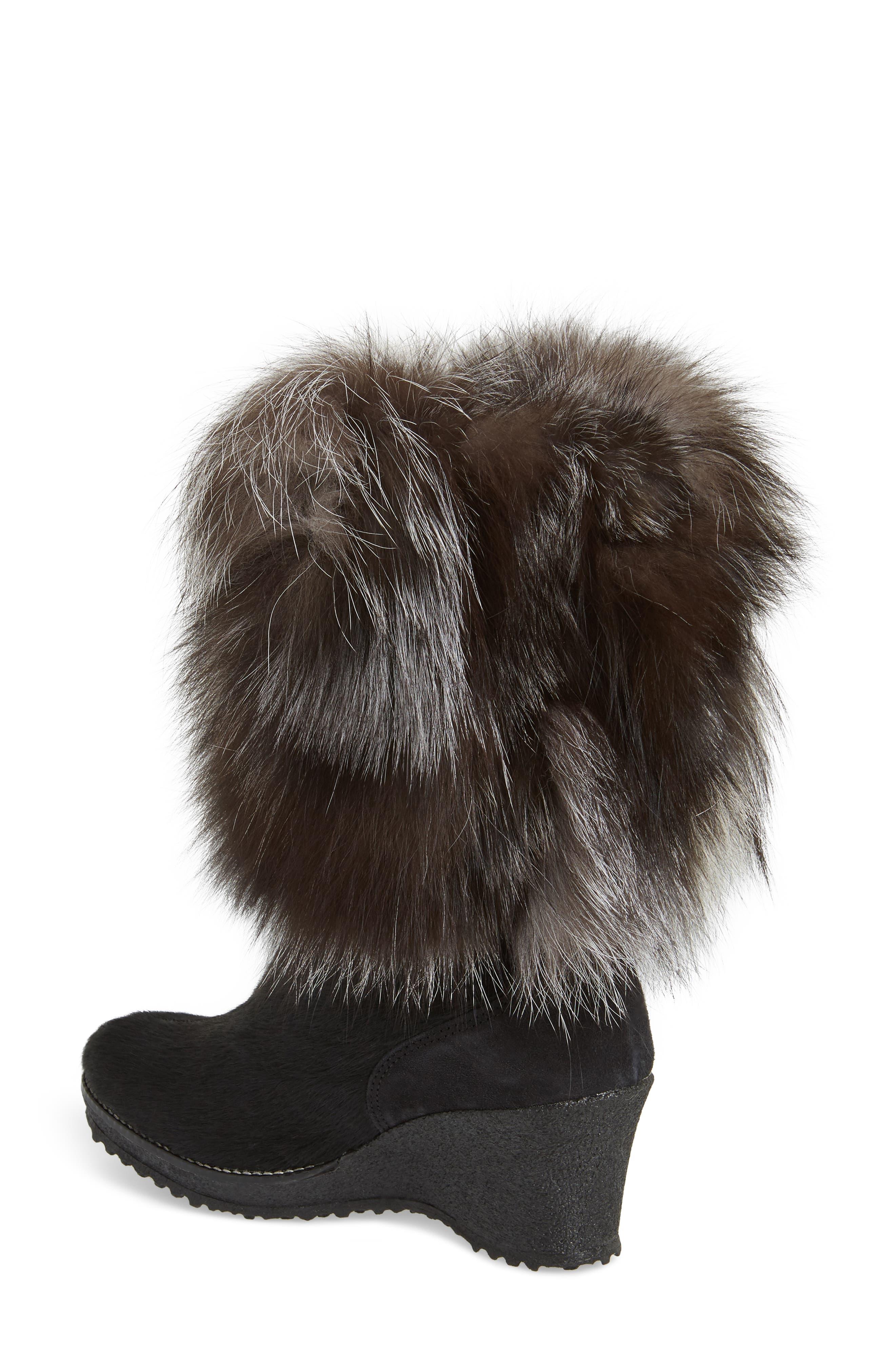 Angelina Genuine Fox Fur Wedge Boot,                             Alternate thumbnail 2, color,                             001