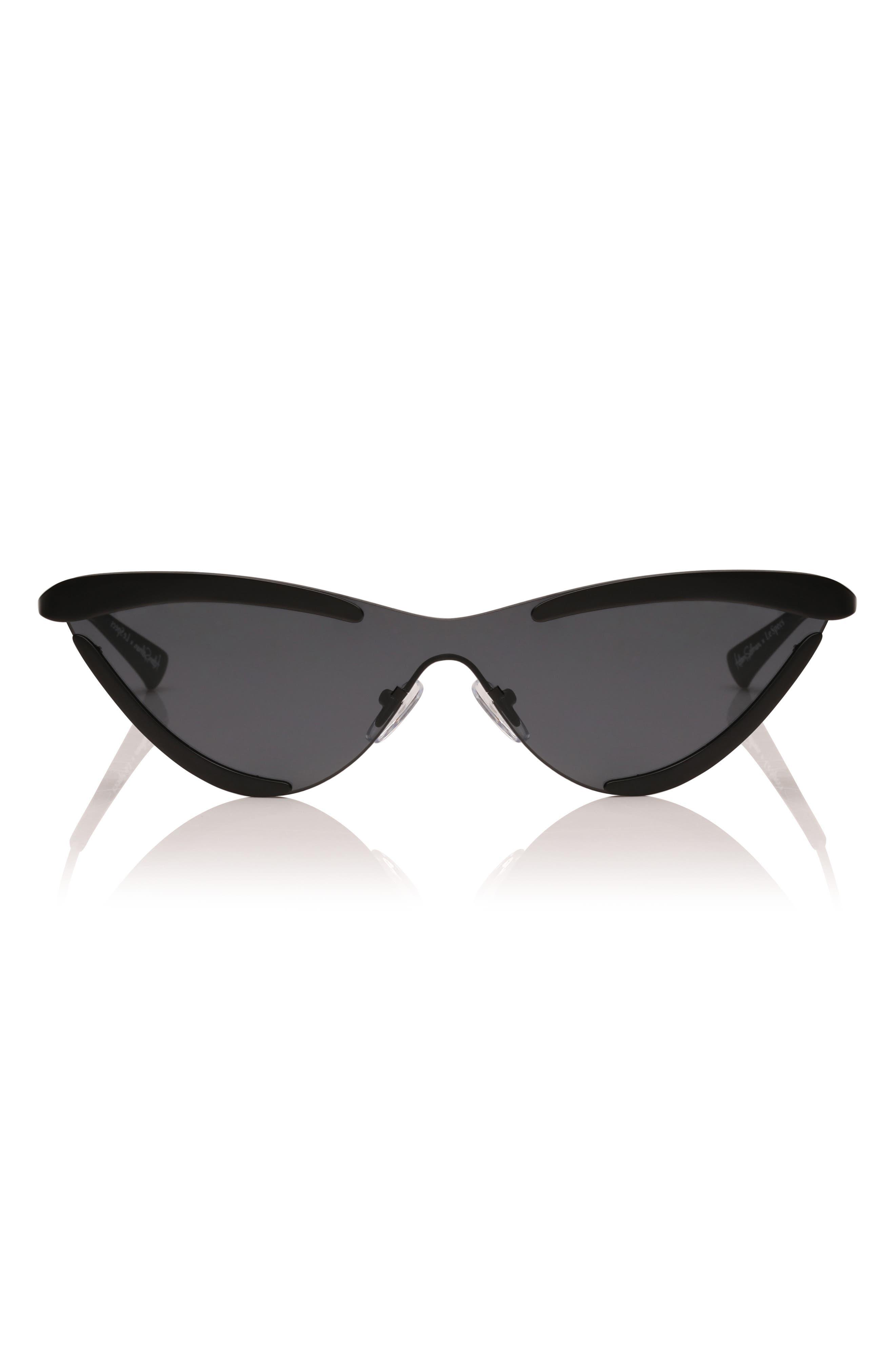 Adam Selman X Le Specs Luxe The Scandal 142Mm Cat Eye Sunglasses - Black Satin