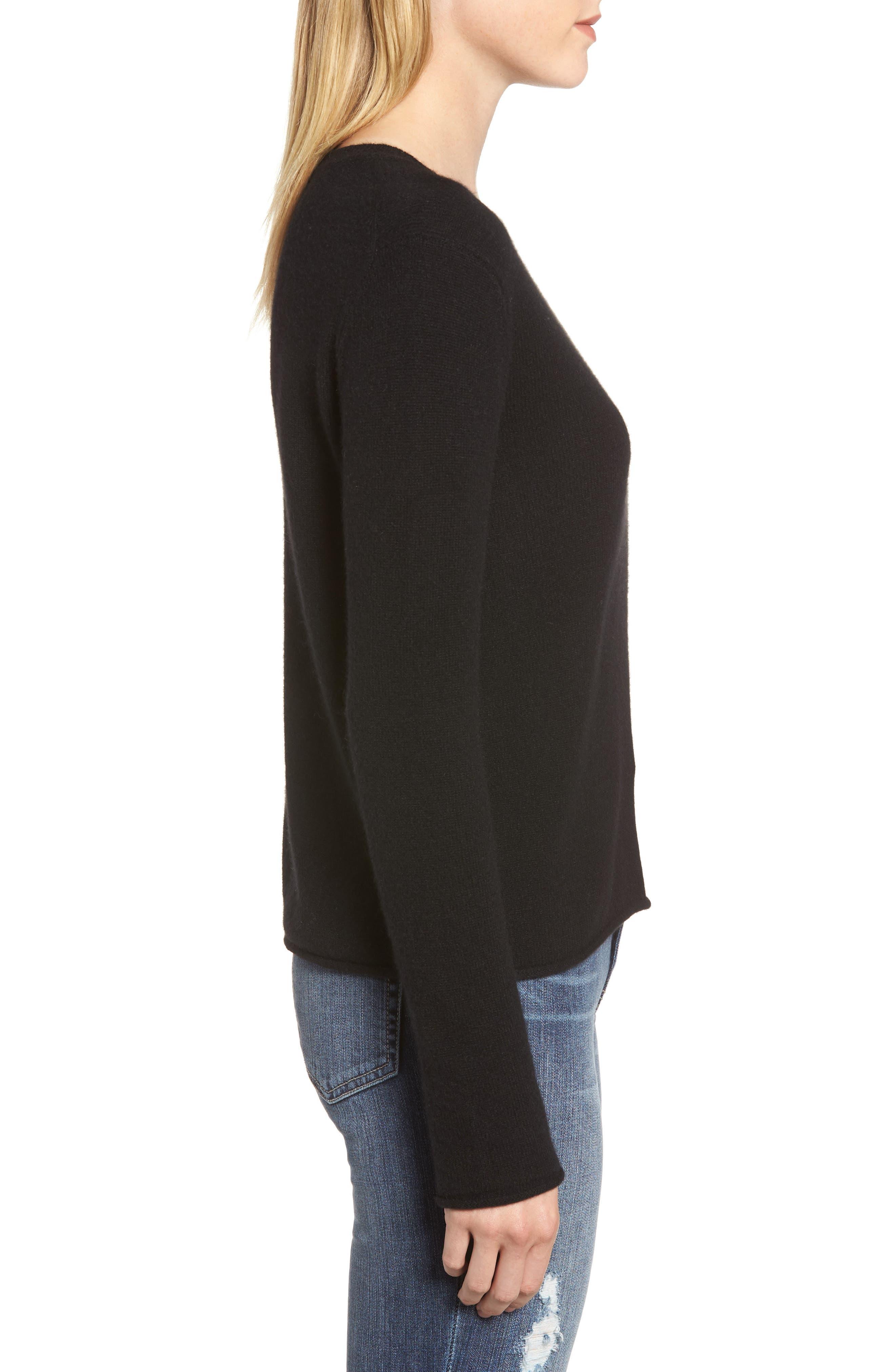 Cashmere Slim Pullover,                             Alternate thumbnail 3, color,                             BLACK