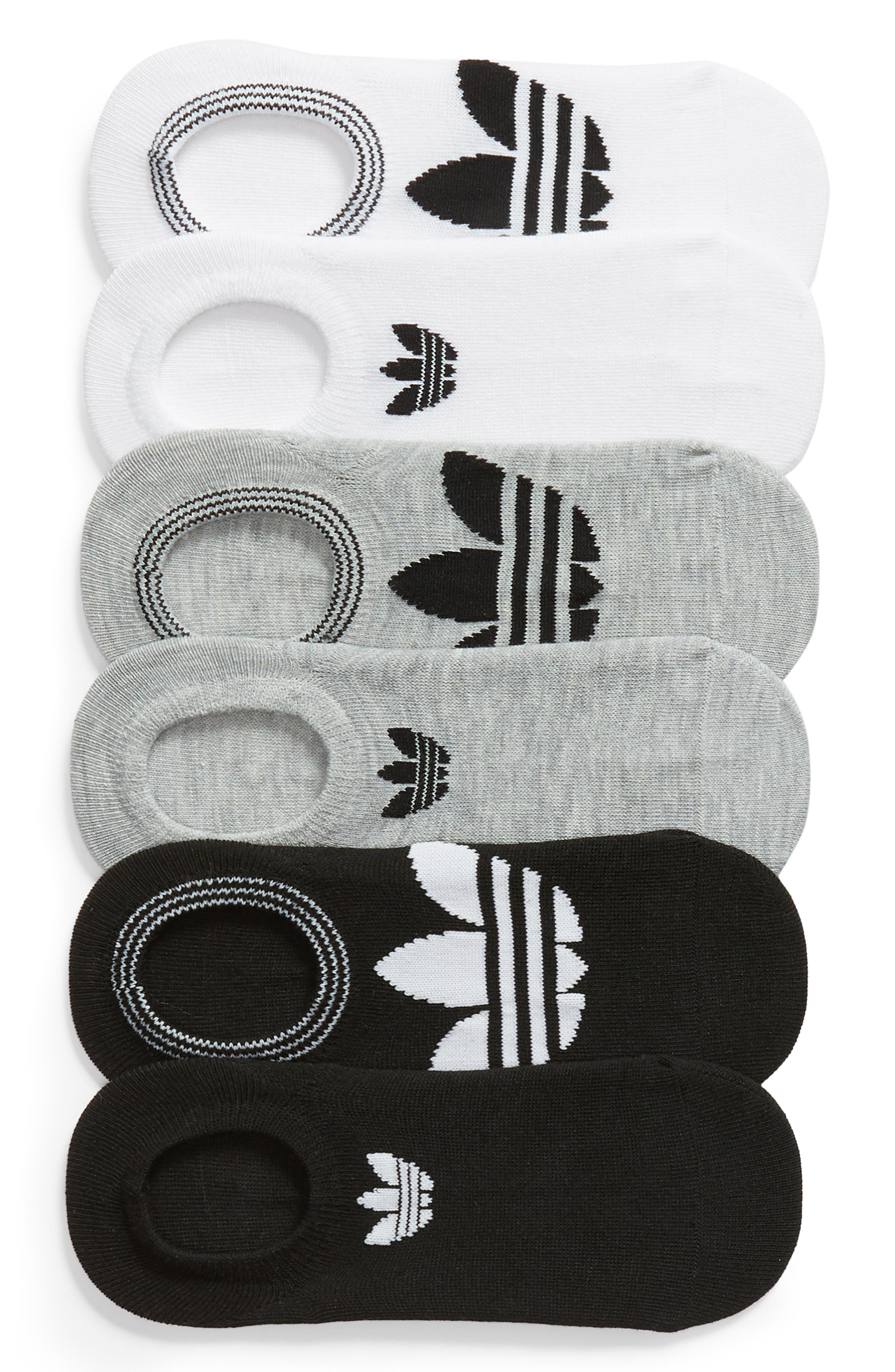 6-Pack Trefoil Superlite No-Show Socks,                             Main thumbnail 1, color,                             WHITE/ LT HTHR GREY/ BLACK